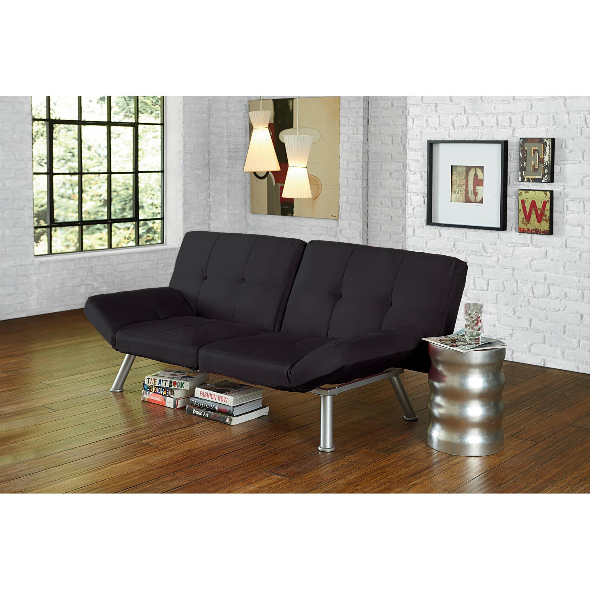 Mainstays Contempo Futon, Multiple Colors – Walmart Pertaining To Mainstay Sofas (Image 12 of 20)