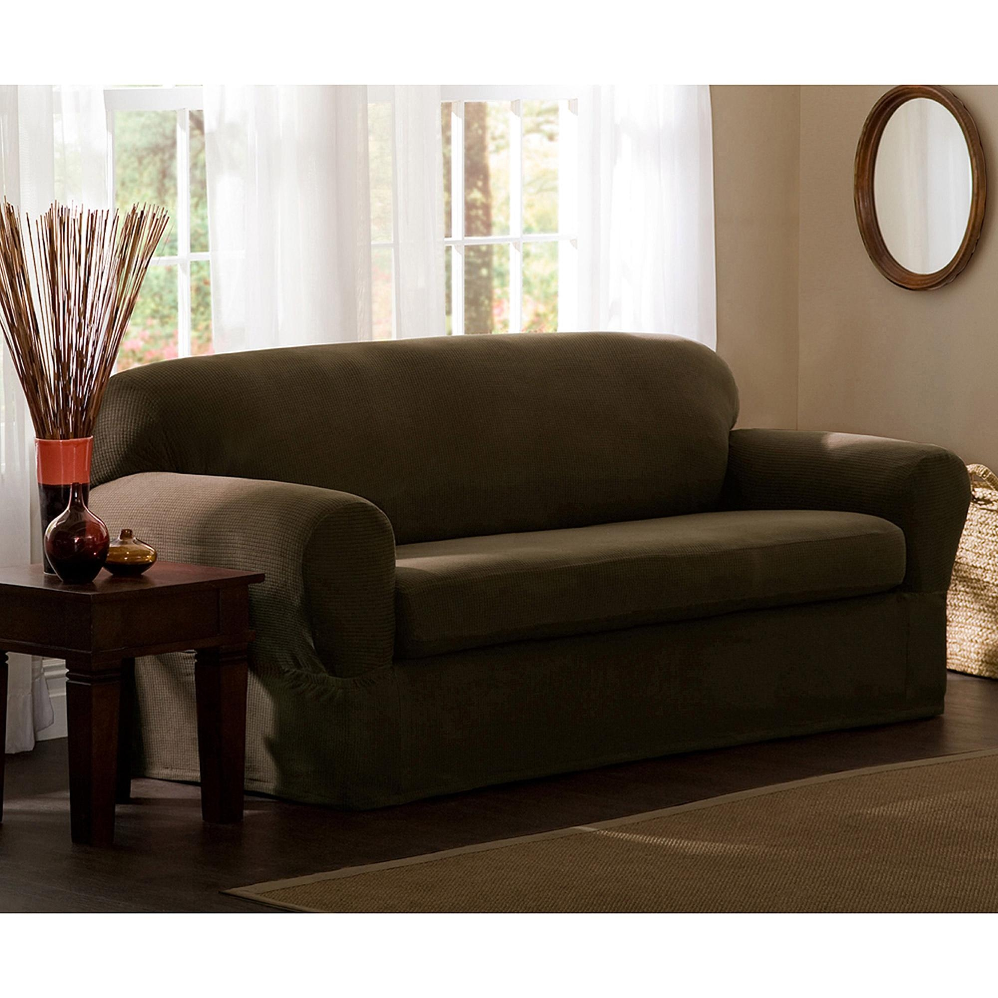 Mainstays Faux Suede Loveseat Slipcover – Walmart For Suede Slipcovers For Sofas (Image 10 of 20)