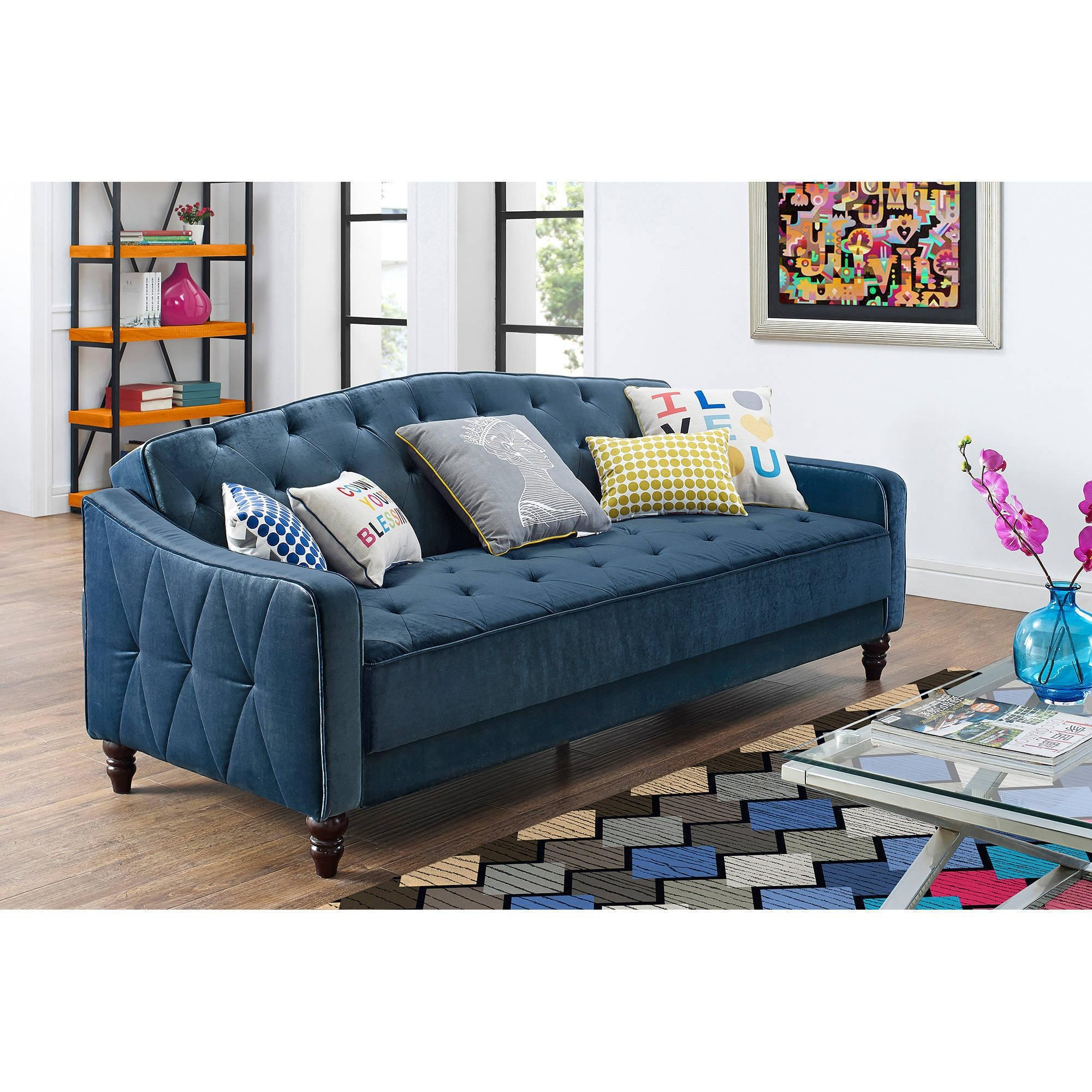 Mainstays Memory Foam Futon, Multiple Colors – Walmart With Colorful Sofas And Chairs (Image 14 of 20)
