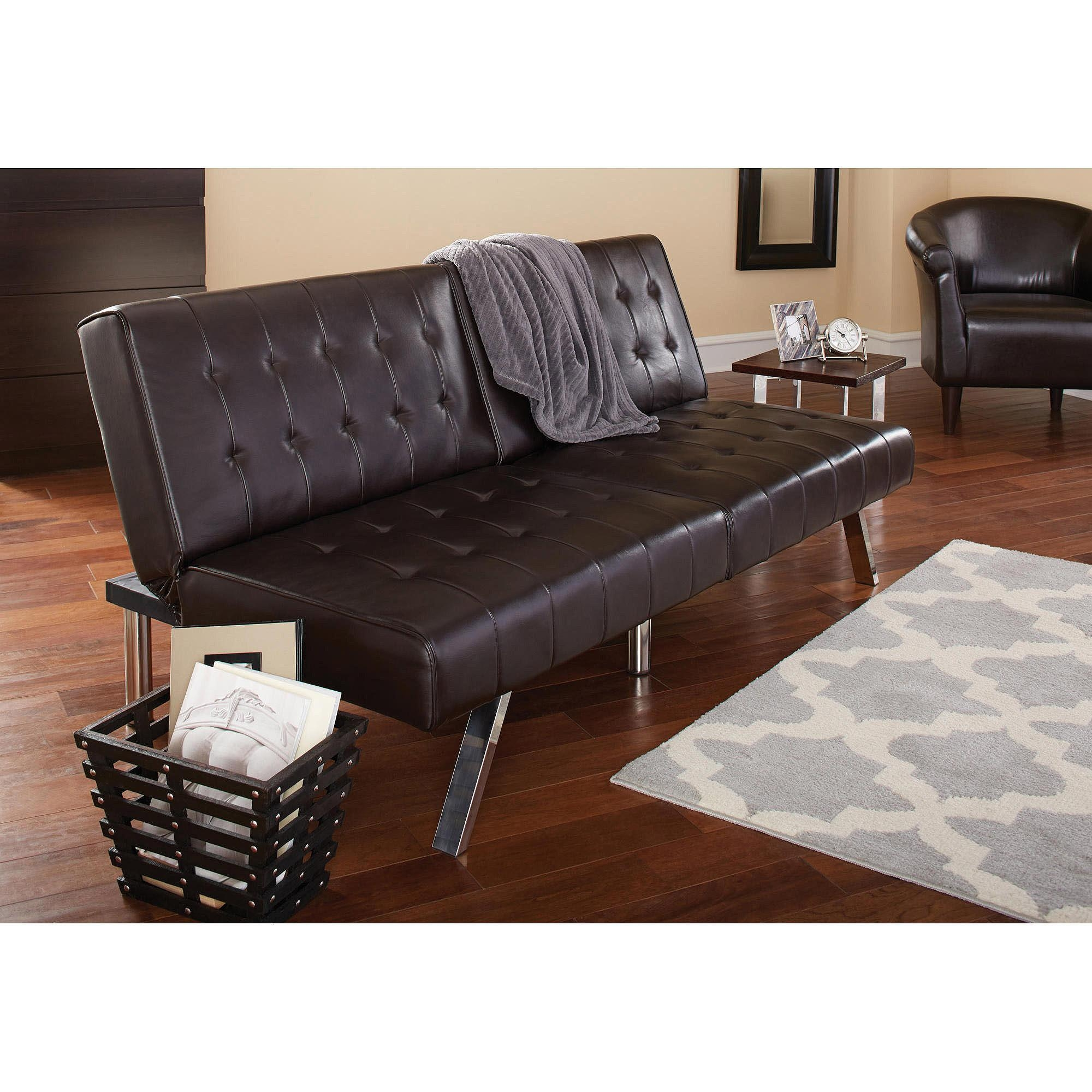 Mainstays Morgan Faux Leather Tufted Convertible Futon, Brown Throughout Faux Leather Futon Sofas (Image 12 of 20)
