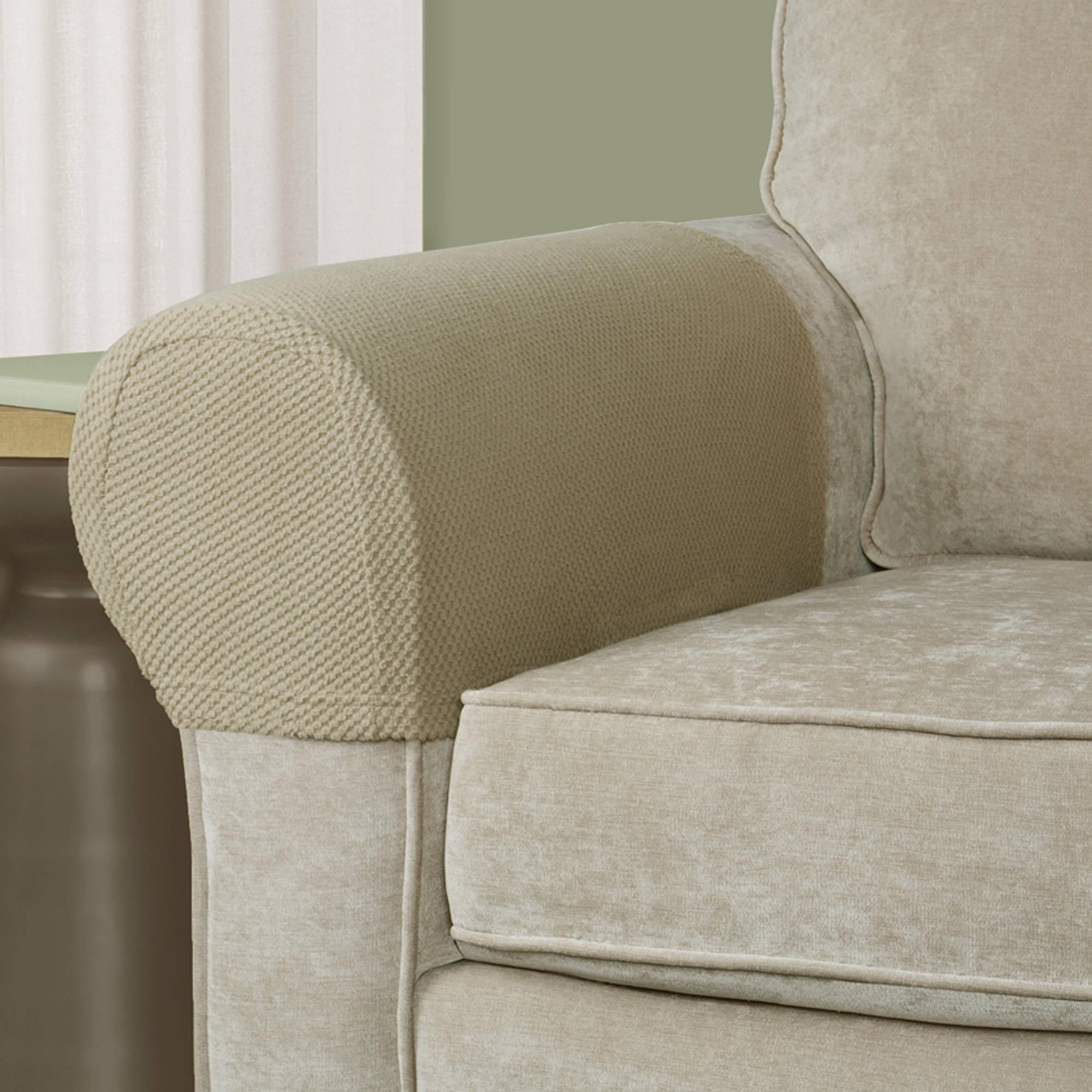 Mainstays Pixel Stretch Fabric Furniture Armrest Covers – Walmart Pertaining To Sofa And Chair Slipcovers (View 10 of 20)