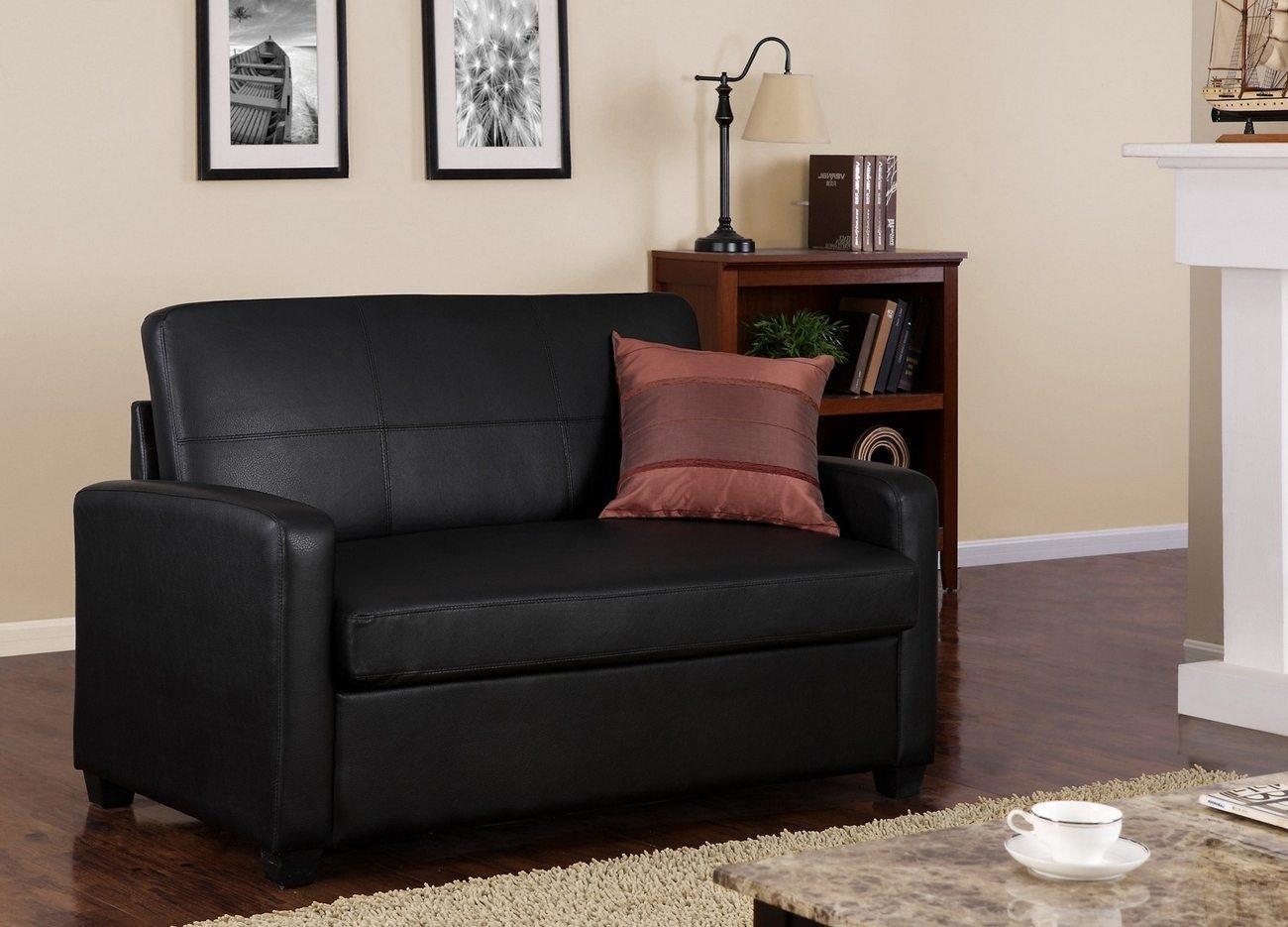 Mainstays Sleeper Sofa Mainstays Sofa Sleeper Black Faux Leather Pertaining To Mainstays Sleeper Sofas (Image 7 of 20)