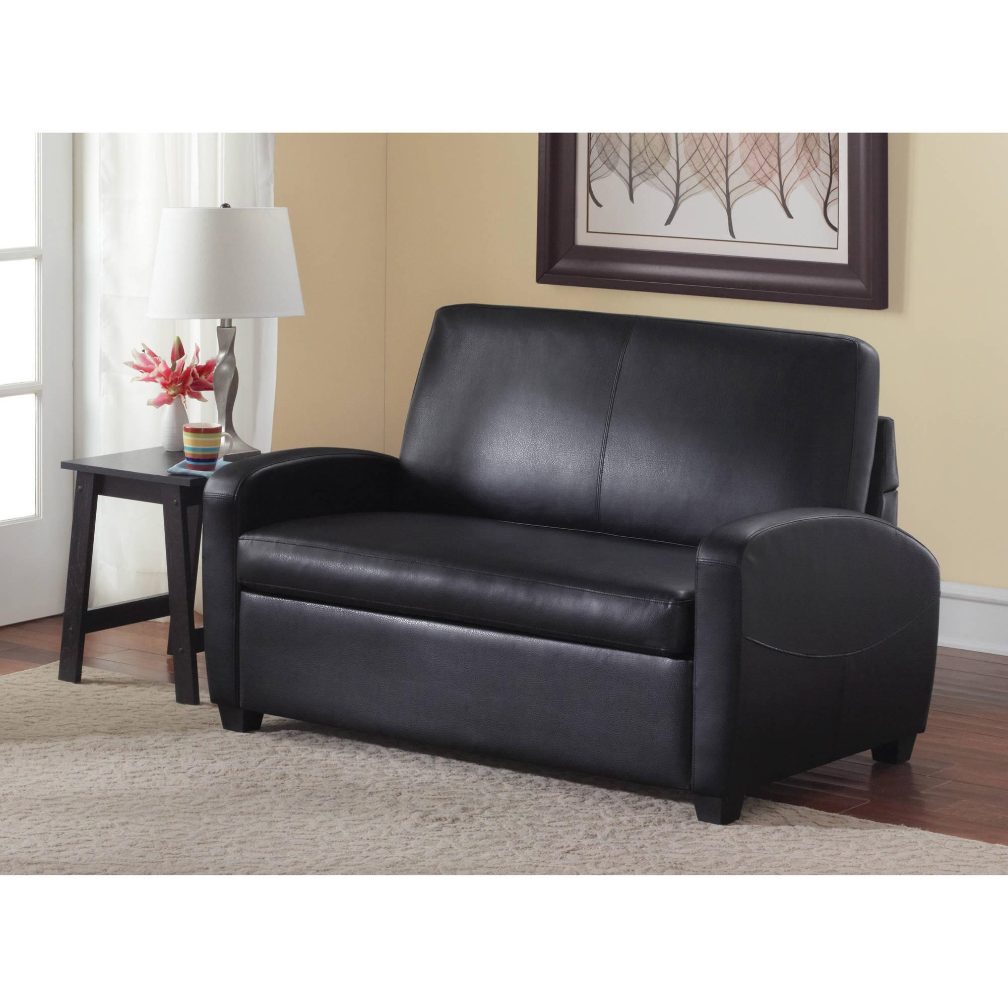 Mainstays Sofa Sleeper, Black – Walmart Intended For Faux Leather Sleeper Sofas (Image 9 of 20)