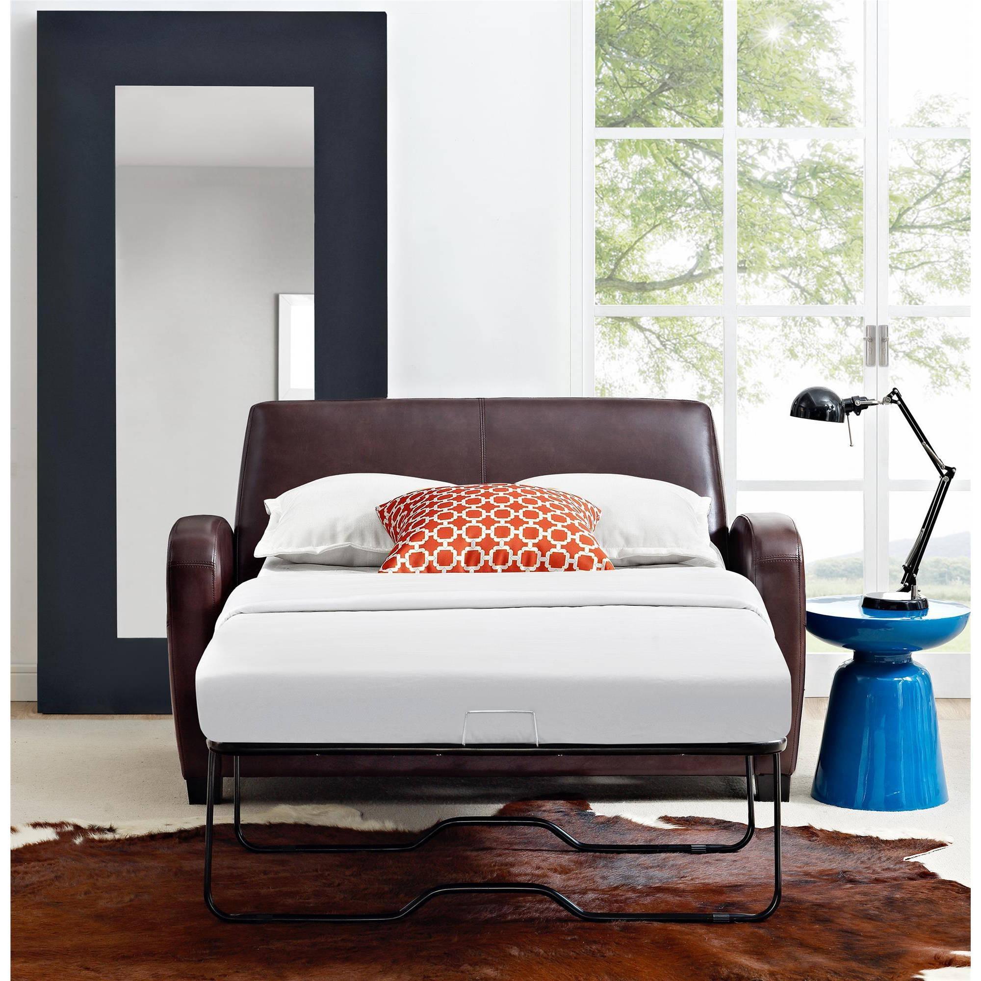 Mainstays Sofa Sleeper, Black – Walmart Throughout Mainstays Sleeper Sofas (Image 15 of 20)
