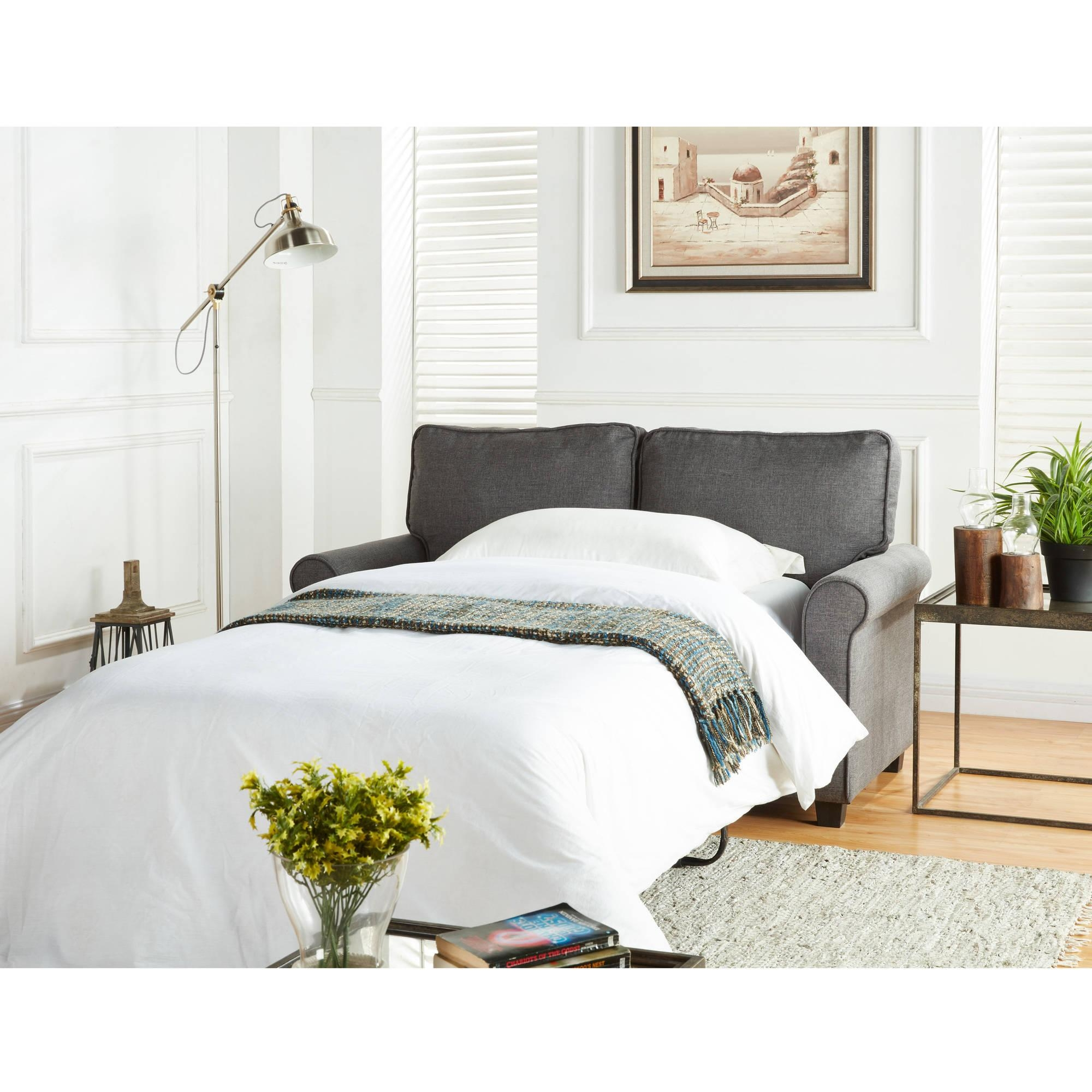 Mainstays Sofa Sleeper With Memory Foam Mattress, Grey – Walmart Intended For Mainstays Sleeper Sofas (Image 11 of 20)