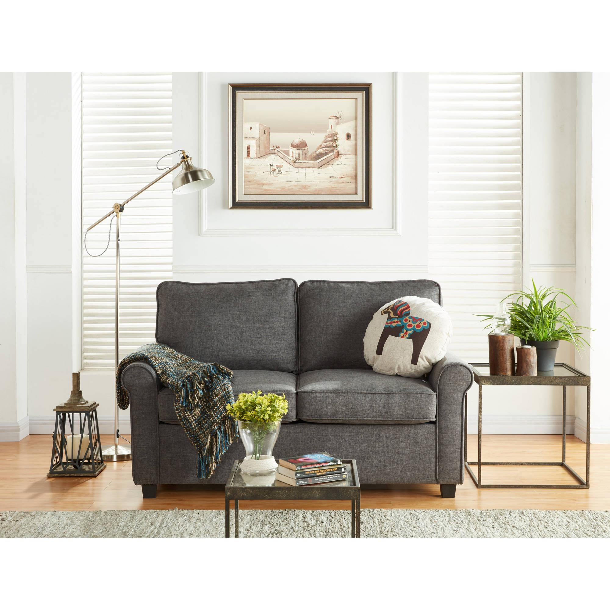 Mainstays Sofa Sleeper With Memory Foam Mattress, Grey – Walmart Regarding Mainstays Sleeper Sofas (View 9 of 20)