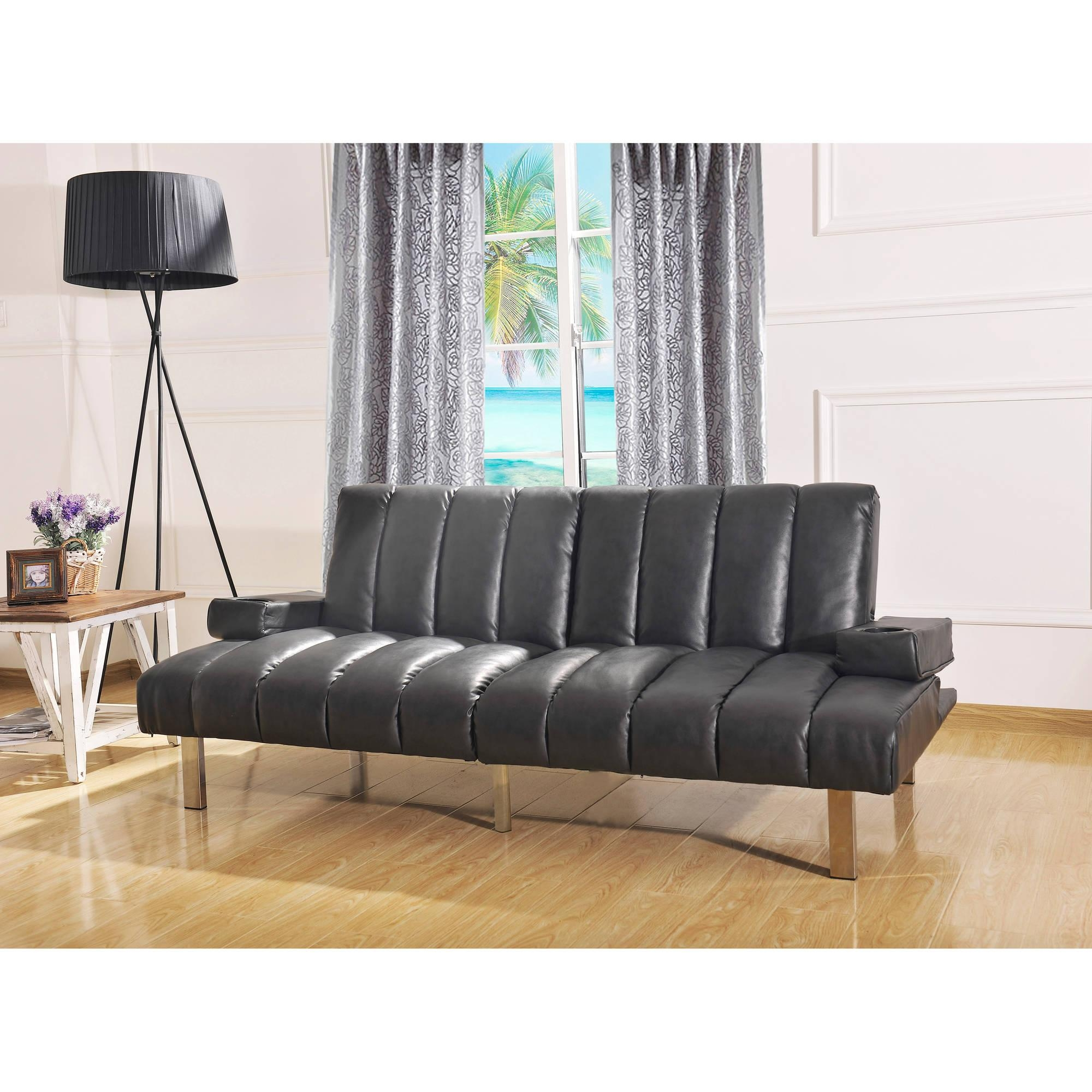 Mainstays Theater Futon, Black – Walmart With Regard To Mainstay Sofas (Image 20 of 20)
