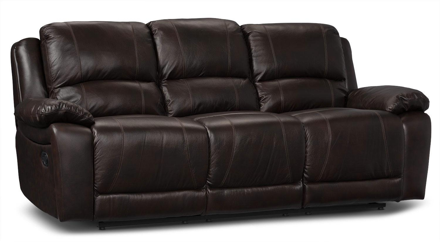 Marco Genuine Leather Power Reclining Sofa – Chocolate | The Brick Throughout The Brick Leather Sofa (View 11 of 20)
