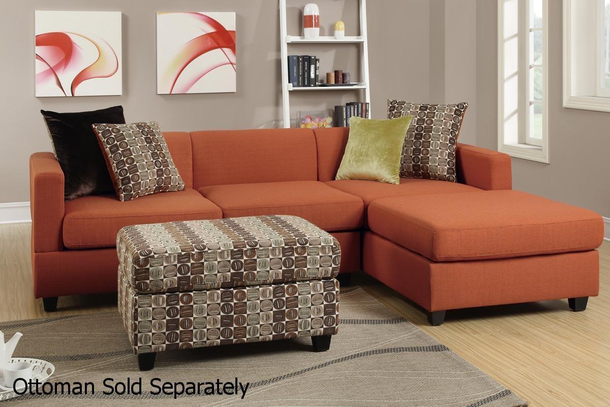 Maribel Orange Fabric Sectional Sofa – Steal A Sofa Furniture Inside Orange Sectional Sofas (Image 14 of 20)