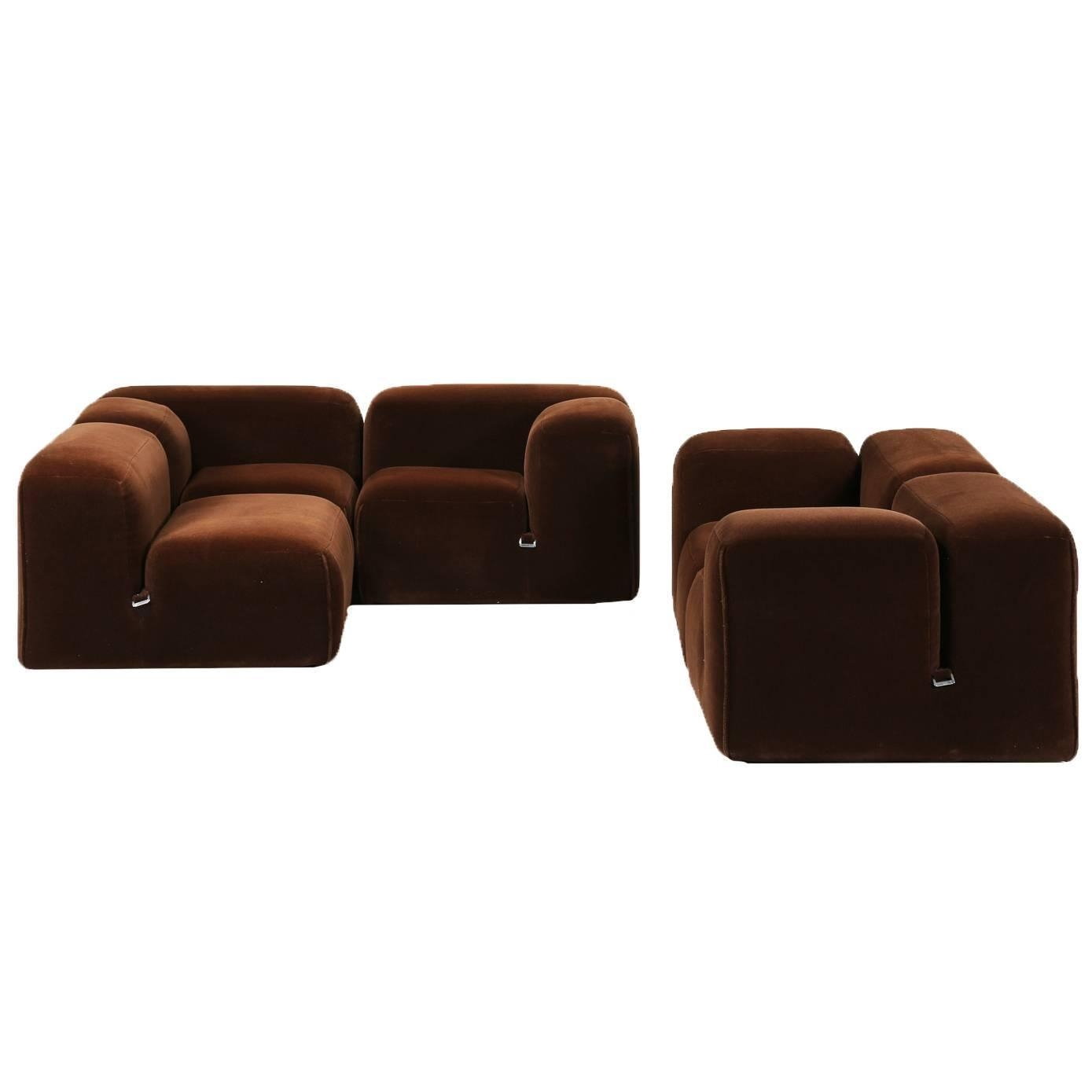 "Mario Bellini, Dark Brown Velvet ""le Mura"" Sofa Range, Cassina Spa Regarding Bellini Sofas (View 14 of 20)"