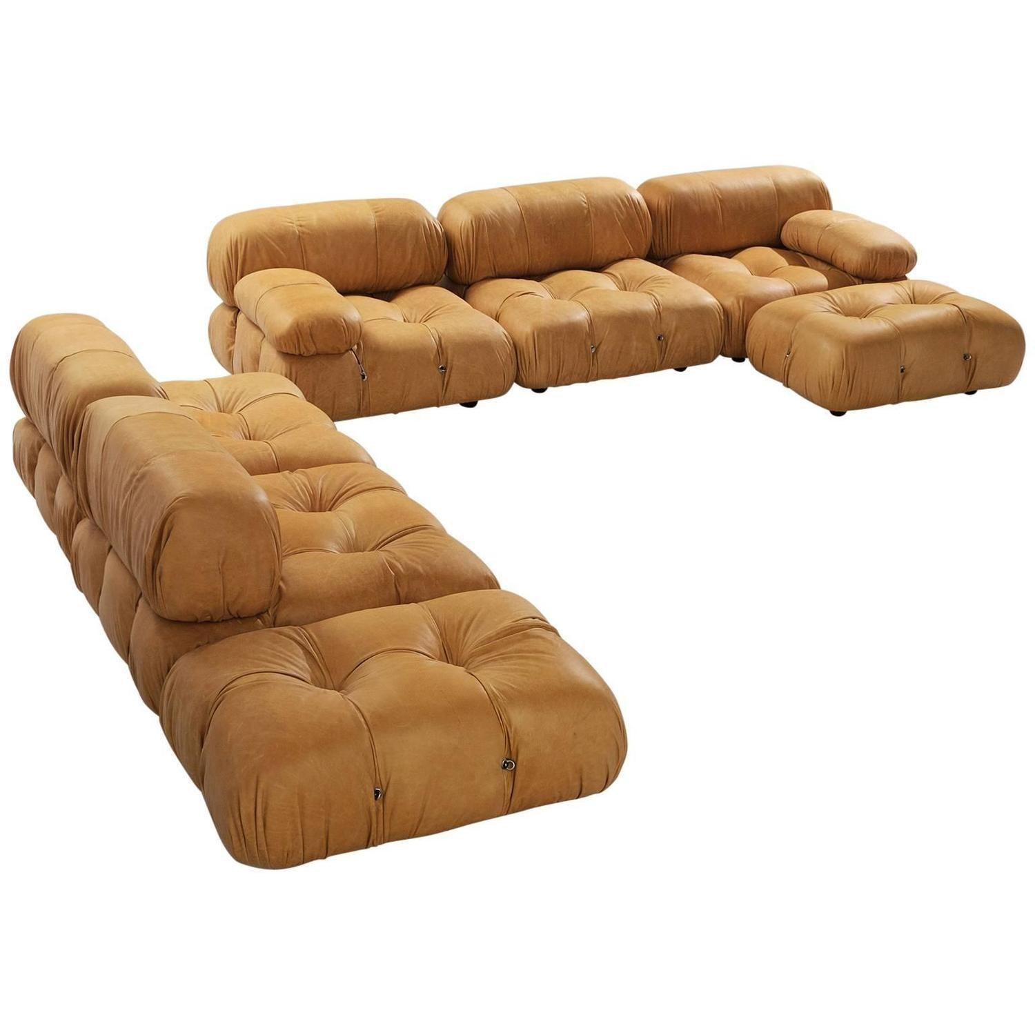 Mario Bellini Reupholstered 'camaleonda' Modular Sofa In Cognac With Modular Sofas (Image 6 of 20)