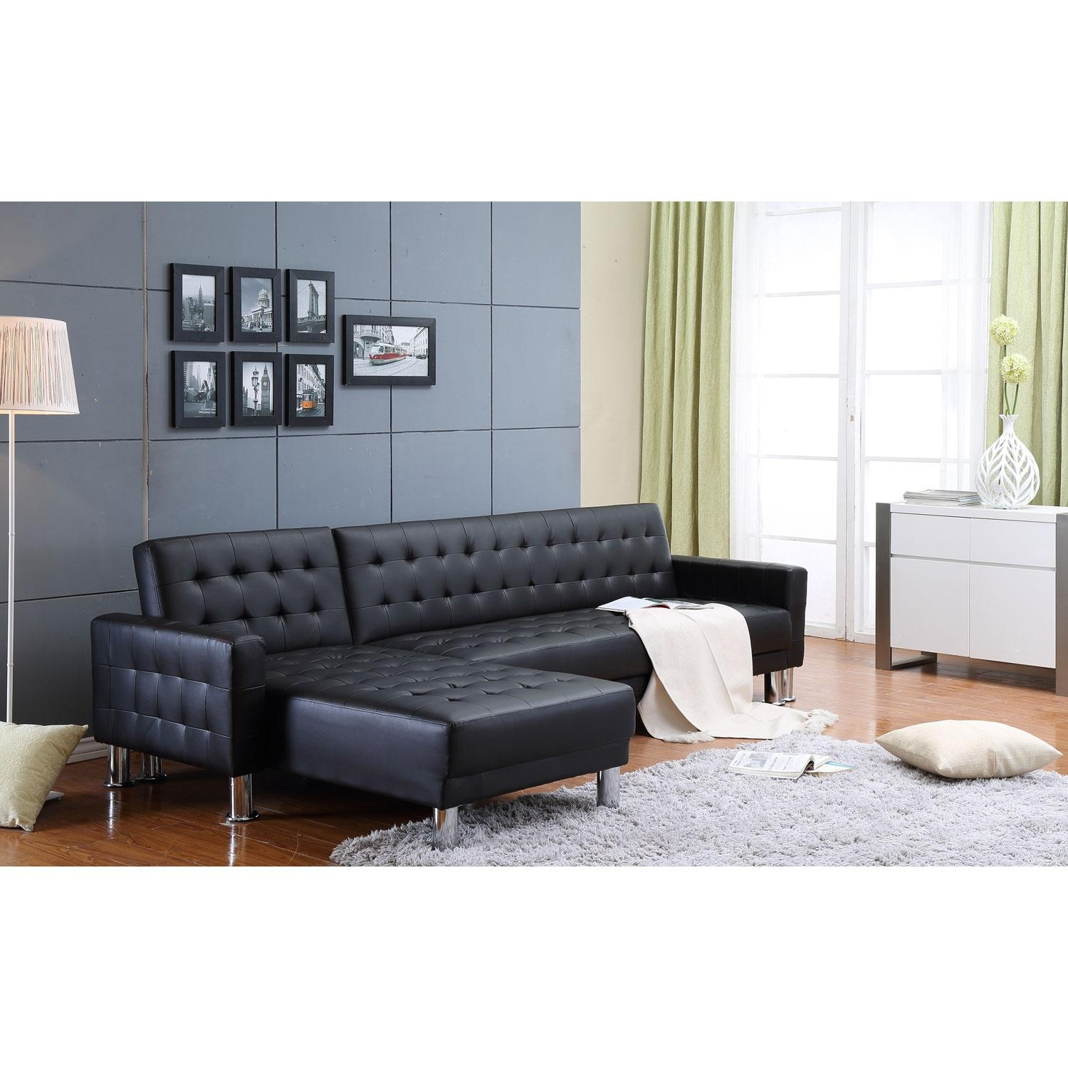 Marsden Black Tufted Bi Cast Leather 2 Piece Sectional Sofa Bed Within Individual Piece Sectional Sofas (Image 11 of 20)