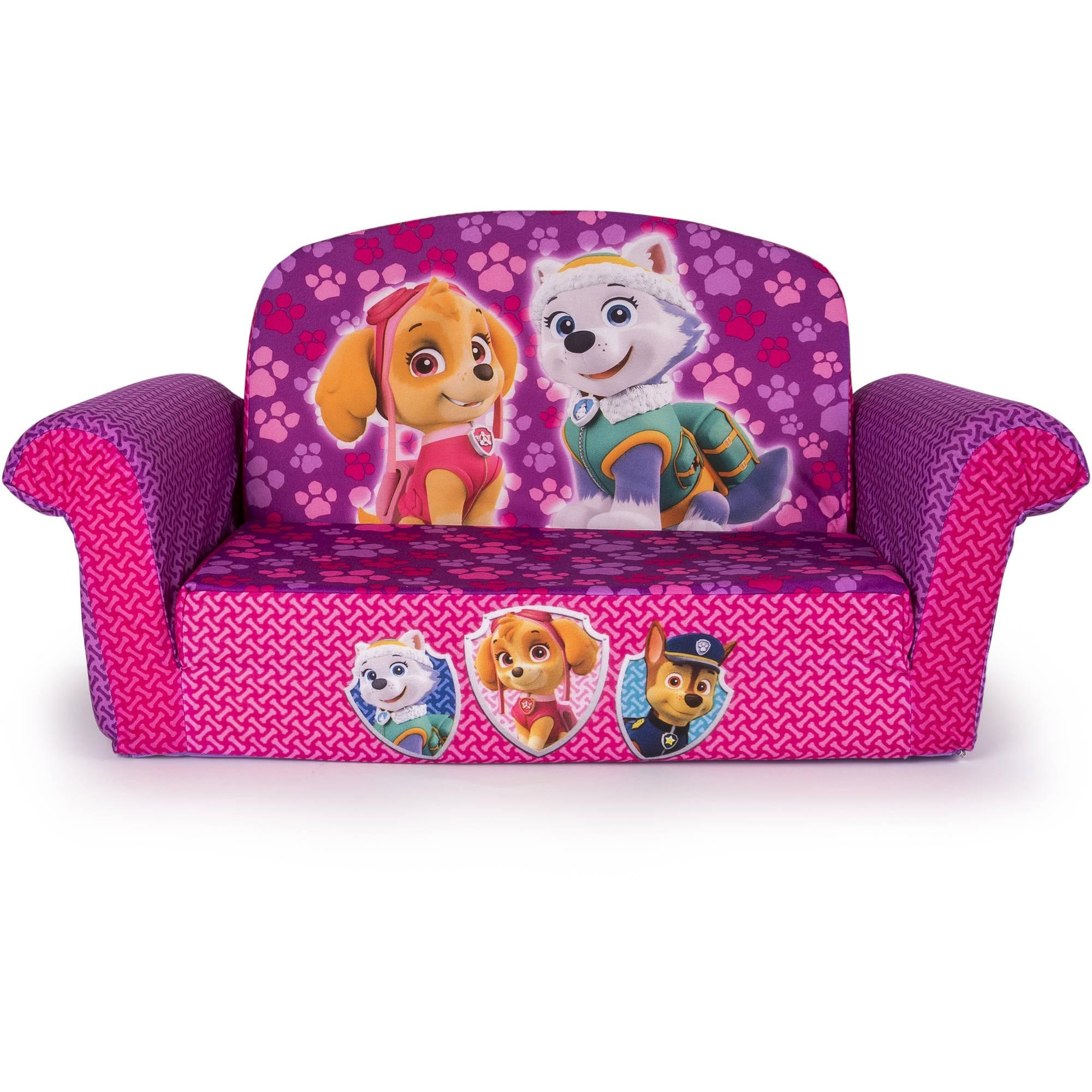 Marshmallow 2 In 1 Flip Open Sofa, Paw Patrol Pink Edition With Flip Open Couches (Image 6 of 20)