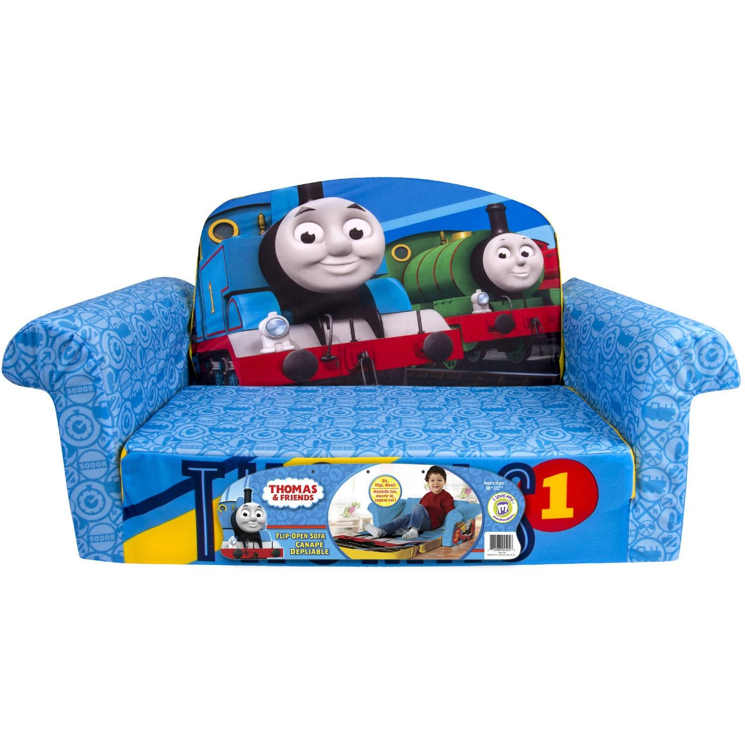 Marshmallow 2 In 1 Flip Open Sofa, Thomas & Friends – Walmart Within Flip Open Couches (View 15 of 20)