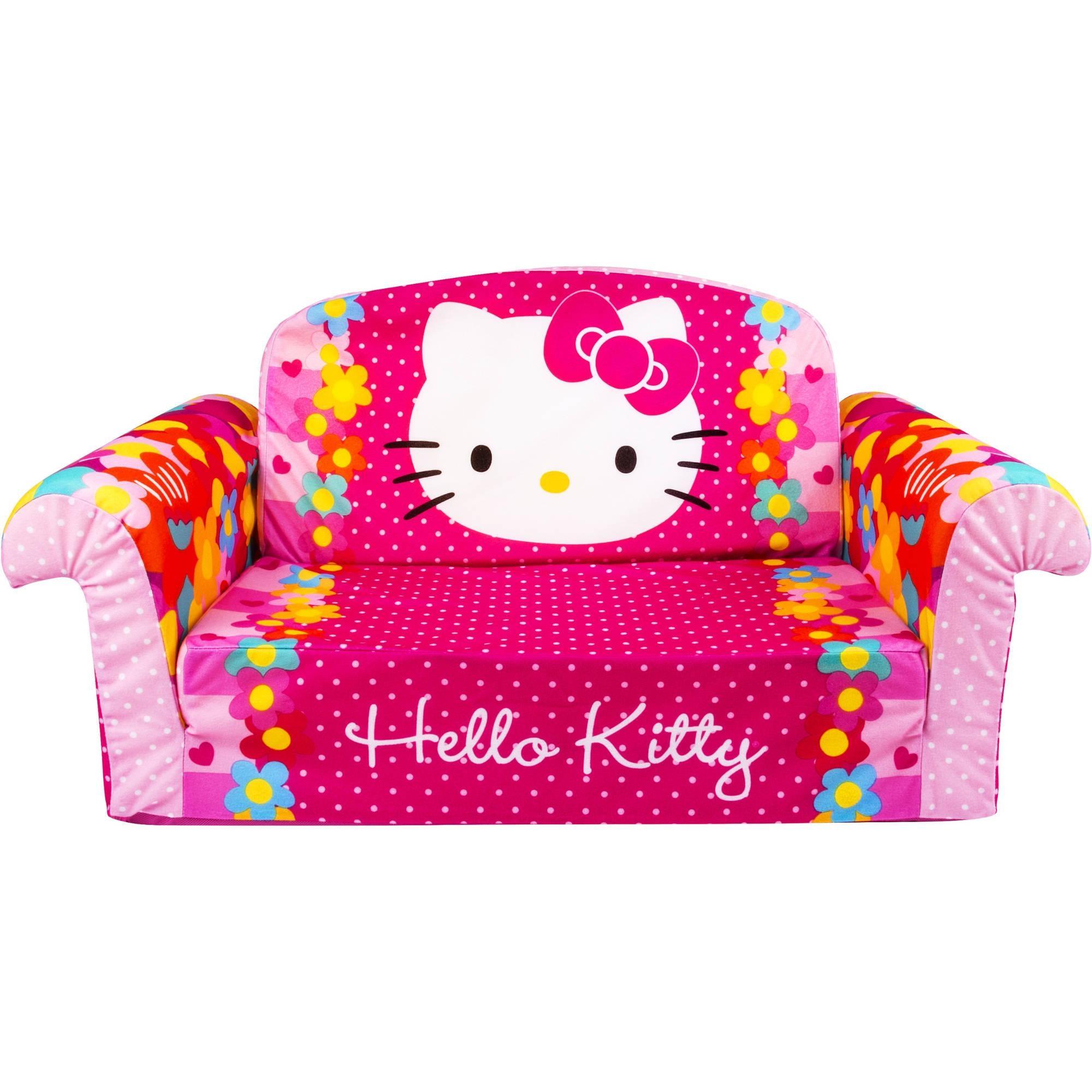 Marshmallow Furniture Flip Open Sofa, Hello Kitty – Walmart Pertaining To Flip Open Kids Sofas (View 8 of 20)
