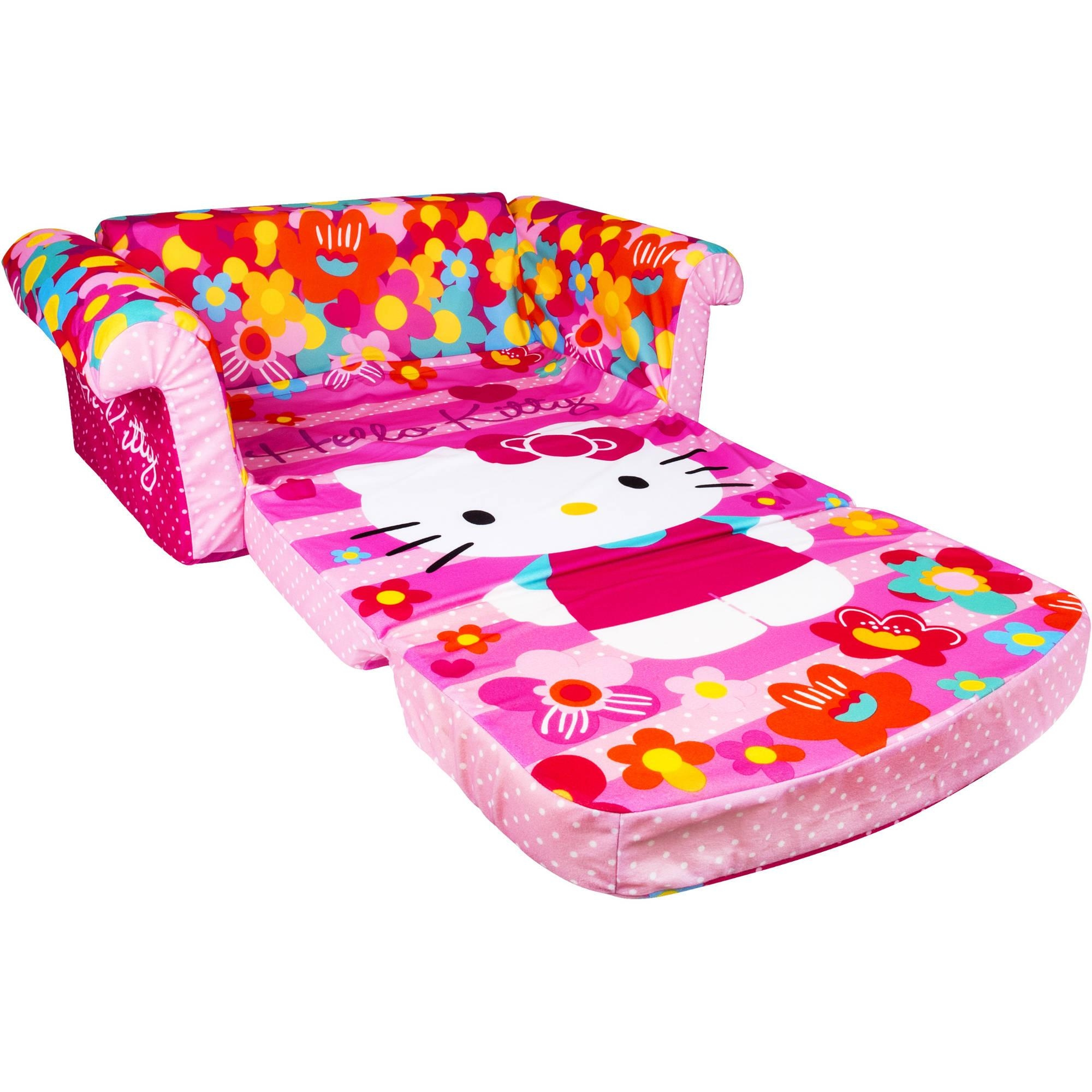 Marshmallow Furniture Flip Open Sofa, Hello Kitty – Walmart Throughout Flip Open Sofas For Toddlers (Image 9 of 20)