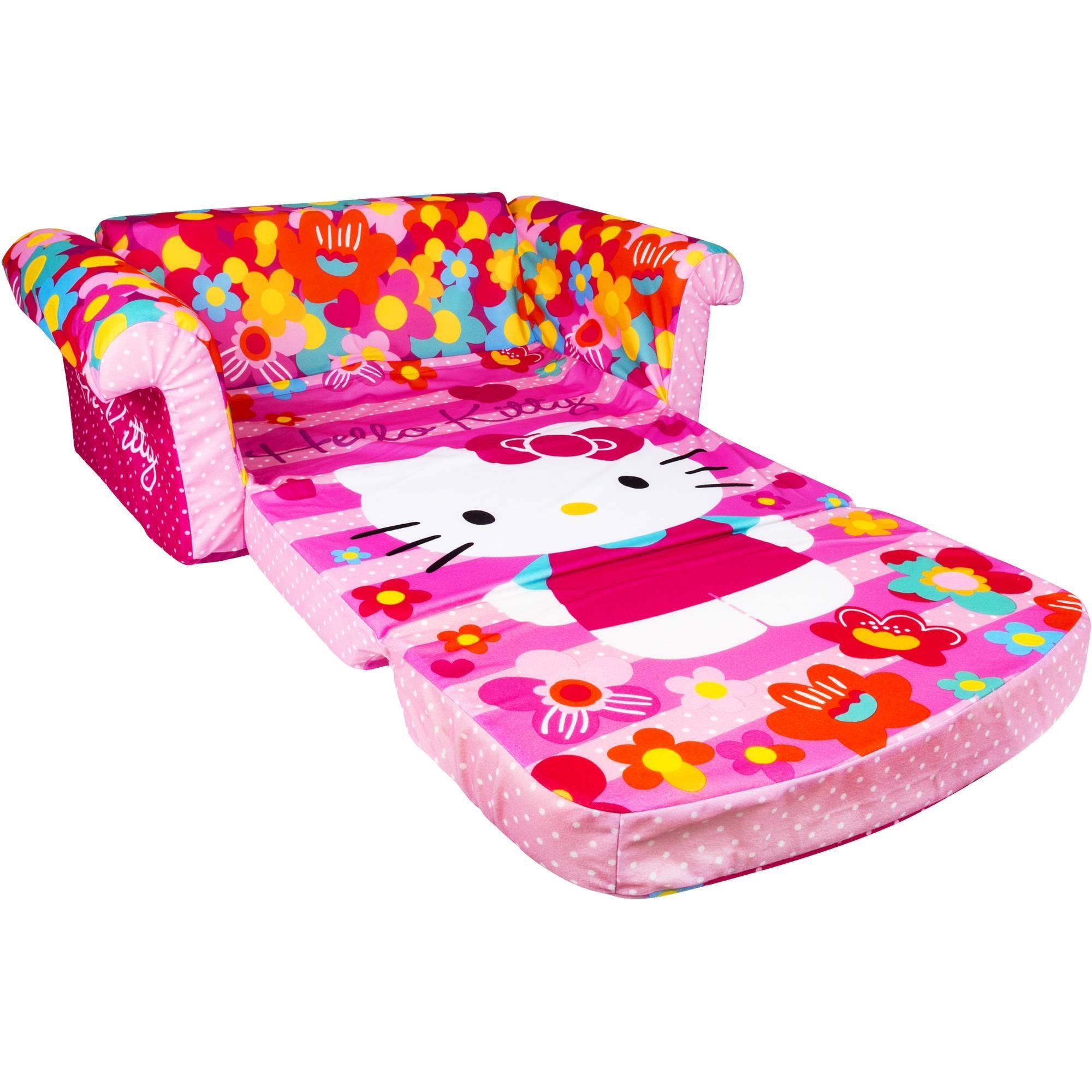Marshmallow Furniture Flip Open Sofa, Hello Kitty – Walmart Throughout Flip Open Sofas For Toddlers (View 3 of 20)