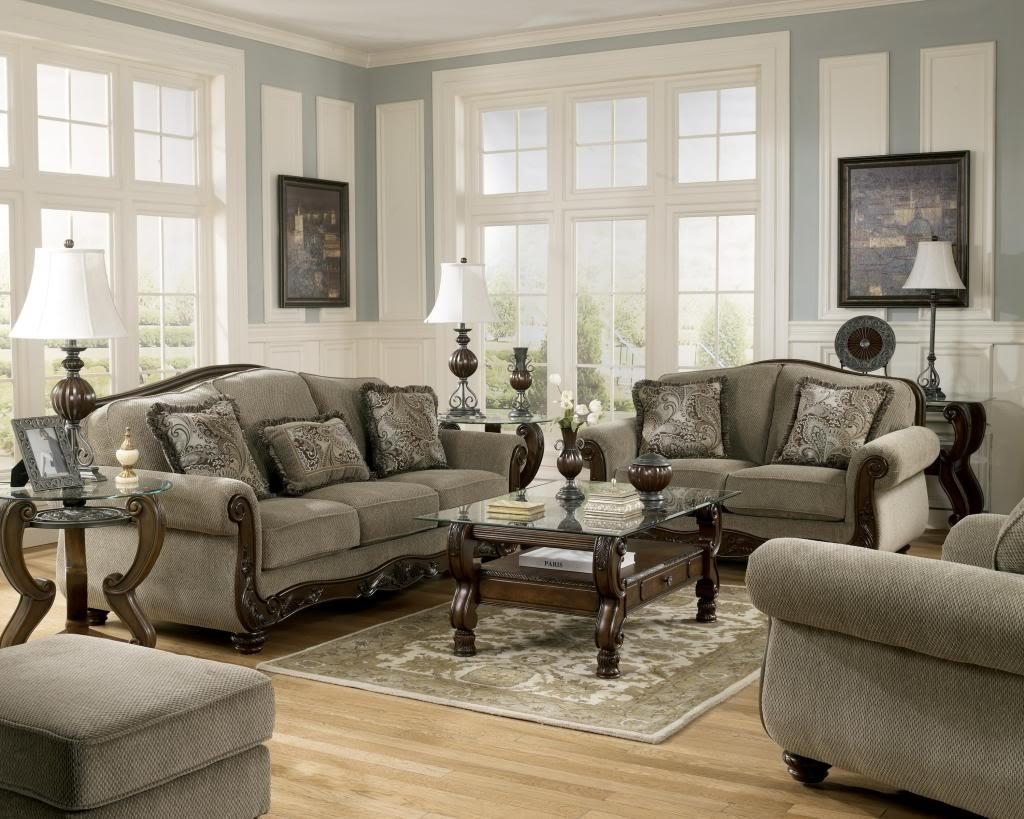 Martinsburg Ashley Traditional Sofa, Love Seat & Chair 3 Pc Living Within Living Room Sofas And Chairs (Image 12 of 20)