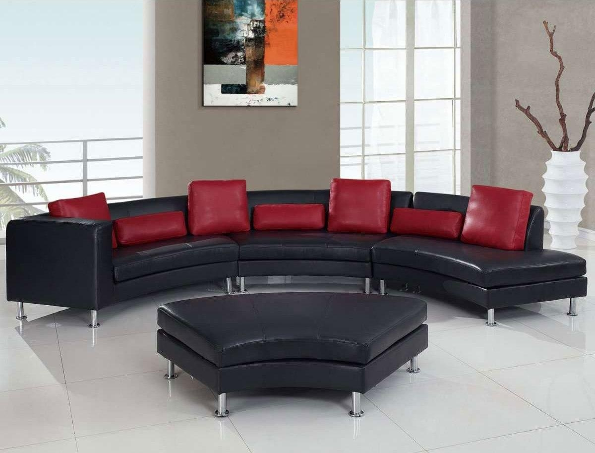 Marvelous Black Leather Curve Sectional Sofa Furniture Mixed With Regarding Black And Red Sofa Sets (Image 11 of 20)