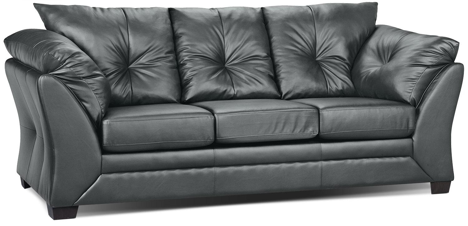 Max Faux Leather Sofa – Grey | The Brick With The Brick Leather Sofa (View 16 of 20)
