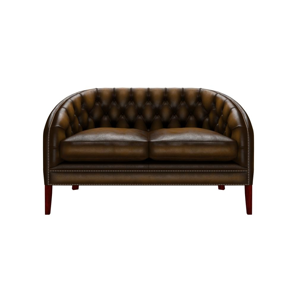 Mayfair 2 Seater Sofa In Antique Gold With Dark Oak Legs – From For 2 Seater Sofas (Image 12 of 20)