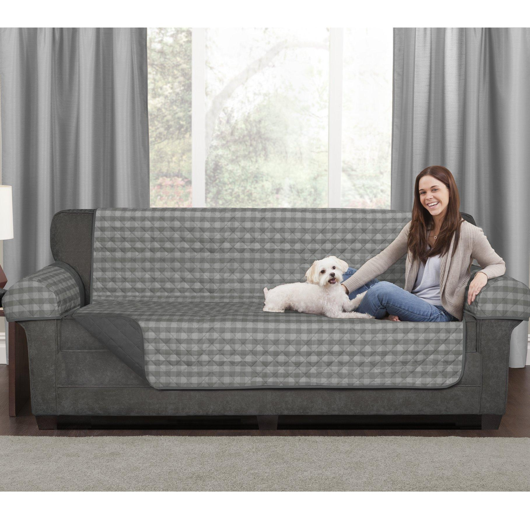 Maytex Buffalo Check 3 Piece Reversible Polyester Sofa Slipcover For 3 Piece Slipcover Sets (Image 13 of 20)