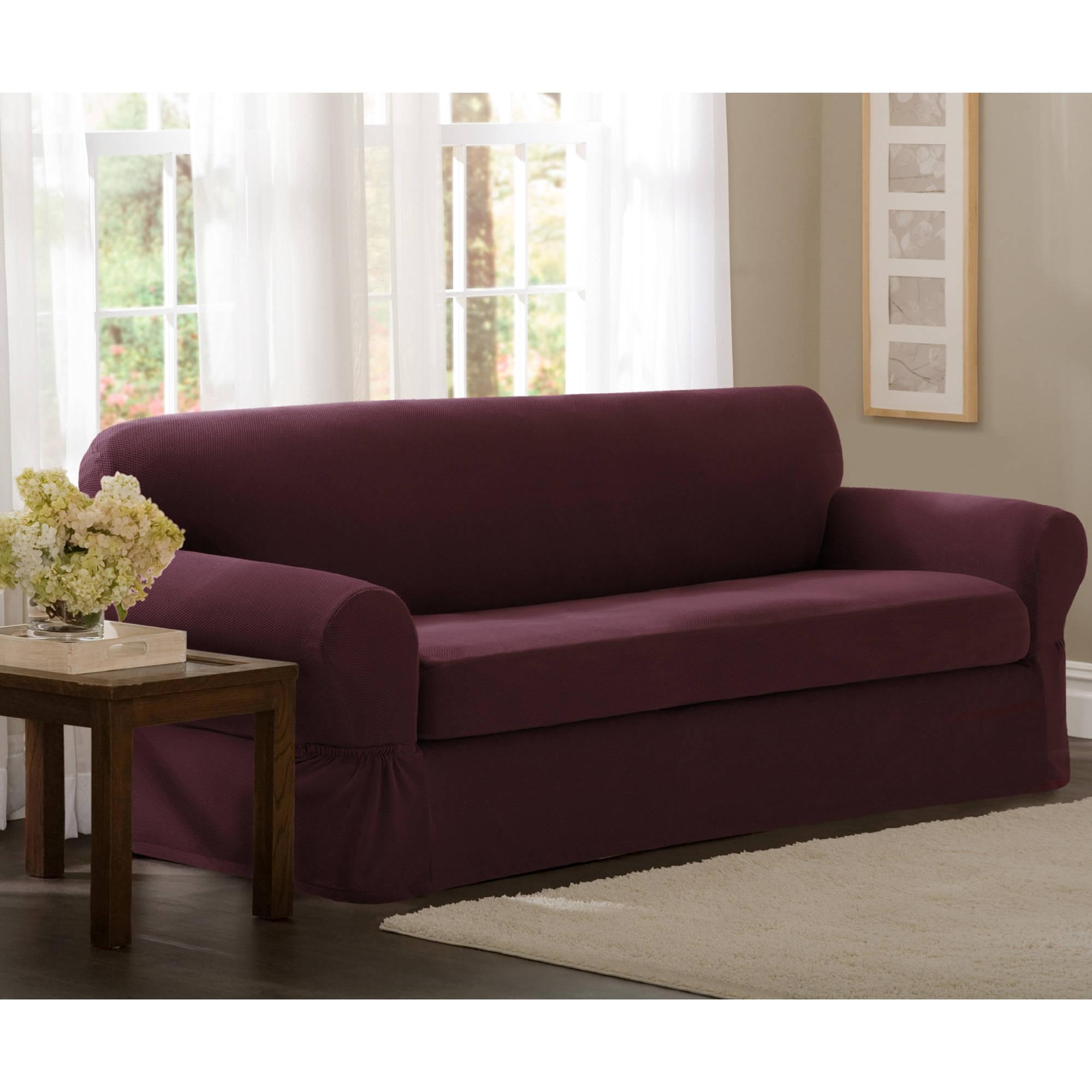 Maytex Stretch 2 Piece Sofa Slipcover U2013 Walmart Inside 3 Piece Sofa  Slipcovers (Image 16