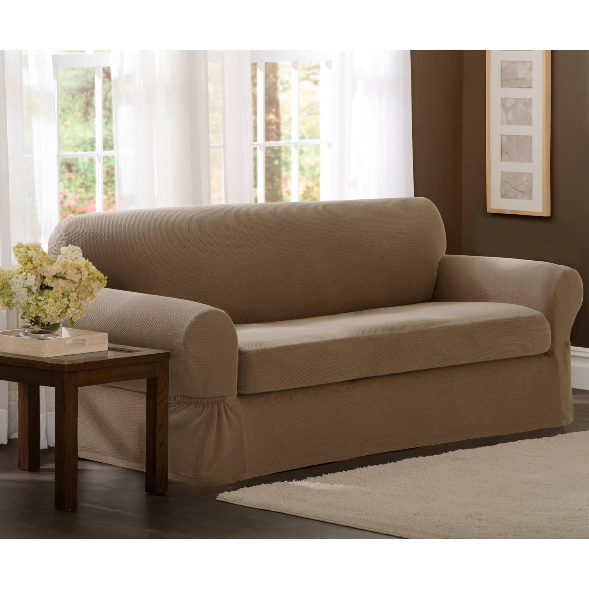 Maytex Stretch 2 Piece Sofa Slipcover – Walmart Throughout T Cushion Slipcovers For Large Sofas (View 7 of 20)