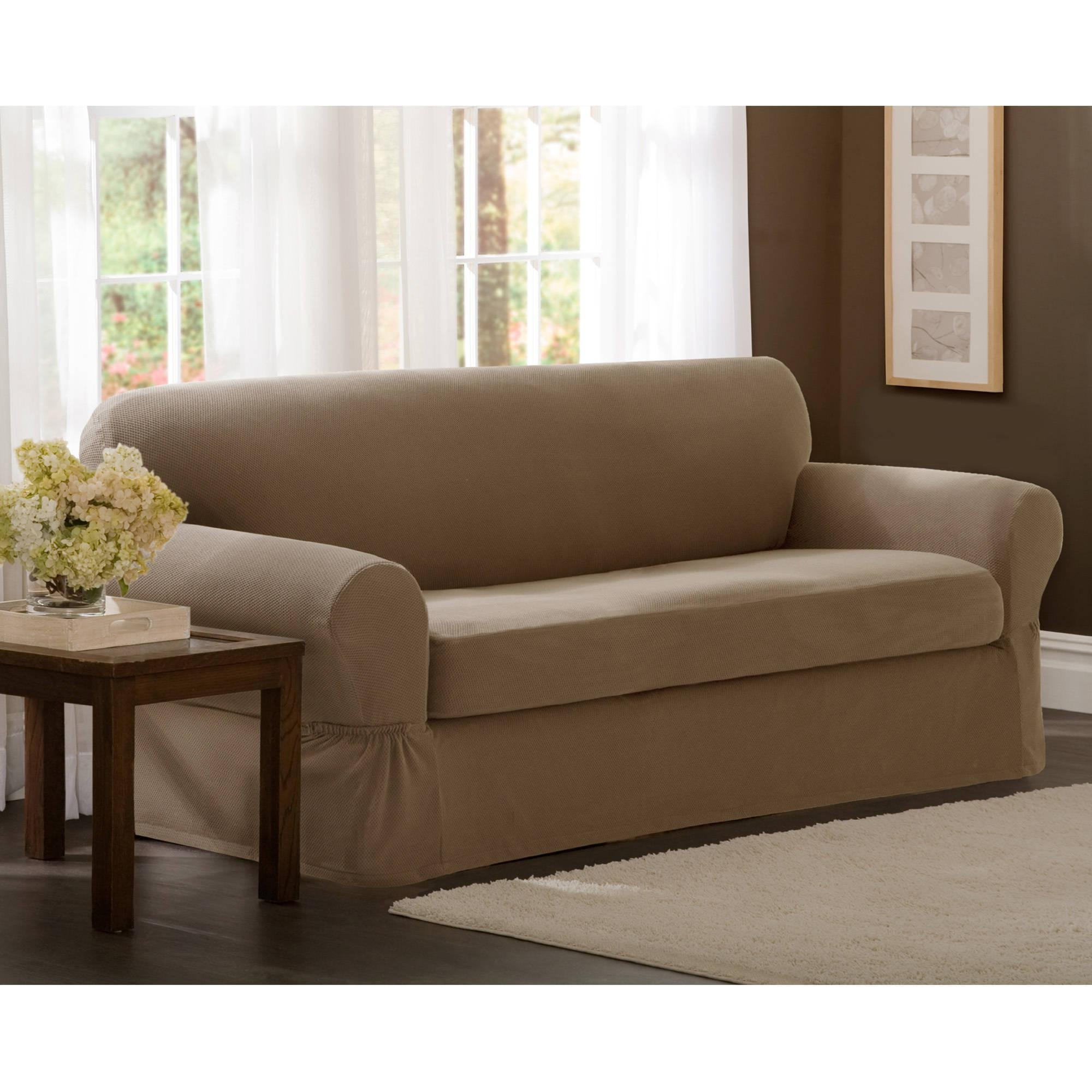 Maytex Stretch Pixel 2 Piece Loveseat Slipcover – Walmart Pertaining To Loveseat Slipcovers 3 Pieces (View 6 of 20)