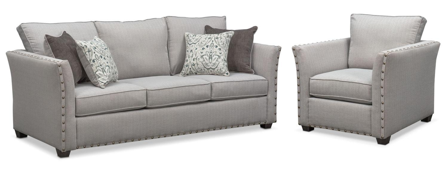 Mckenna Sofa And Chair Set – Pewter | American Signature Furniture Within Sofa And Chair Set (View 16 of 20)