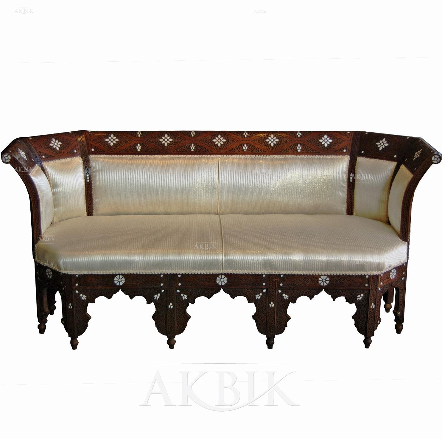 Mediterranean, Levantine & Syrian Furniture Inlaid With Mother Of Regarding Bench Style Sofas (Image 13 of 20)
