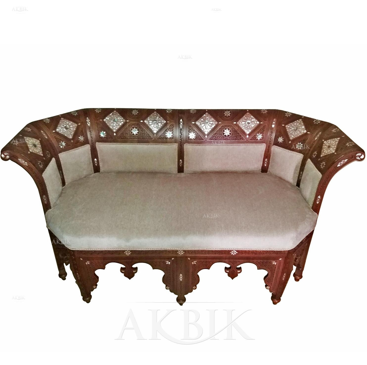 Mediterranean, Levantine & Syrian Furniture Inlaid With Mother Of With Regard To Bench Style Sofas (Image 14 of 20)