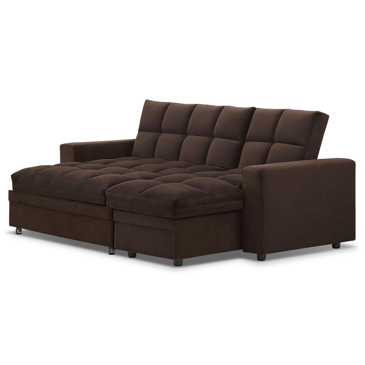 Metro Chaise Sofa Bed With Storage – Brown | American Signature Inside Chaise Sofa Beds With Storage (Photo 11 of 20)