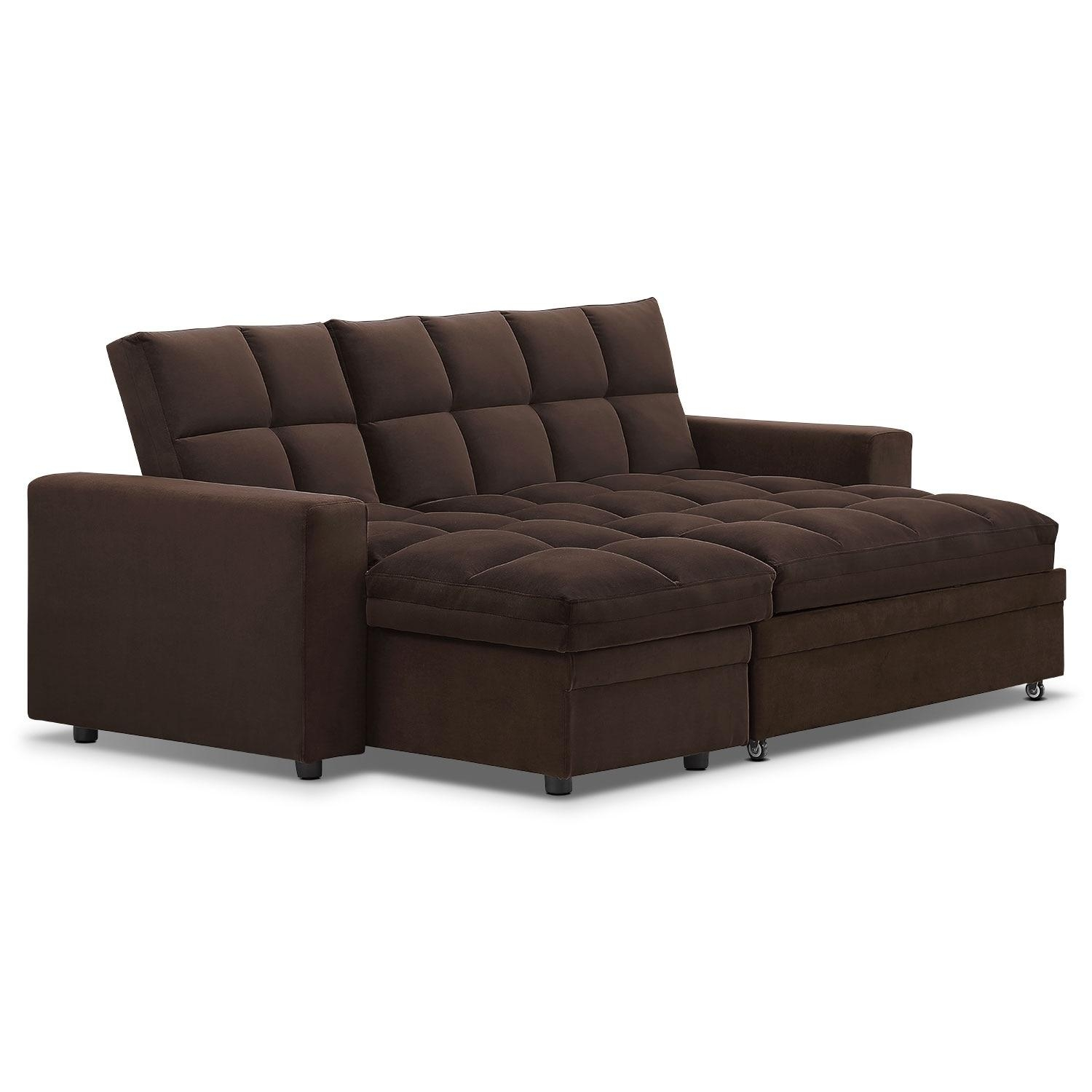 Metro Chaise Sofa Bed With Storage – Brown | American Signature Throughout Chaise Sofa Chairs (View 15 of 20)