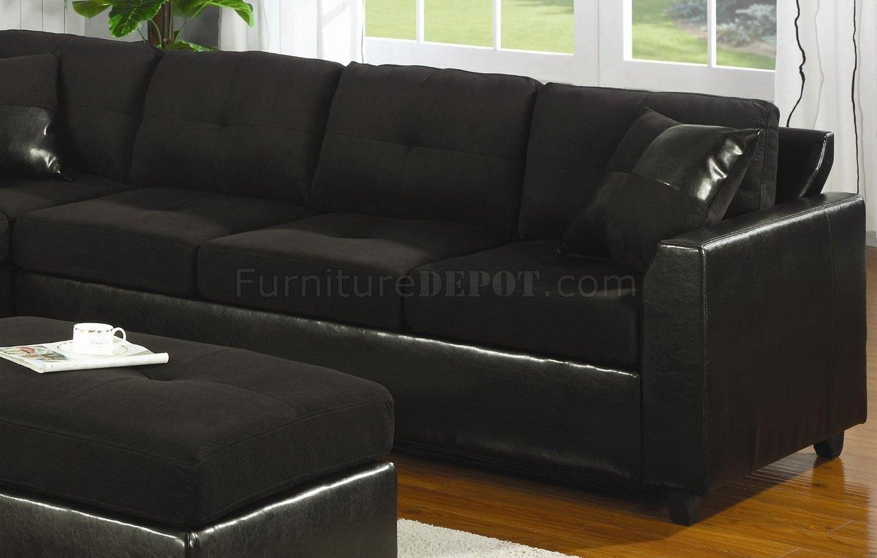 Microfiber & Faux Leather Contemporary Sectional Sofa 500735 Black In Black Microfiber Sectional Sofas (Image 10 of 20)