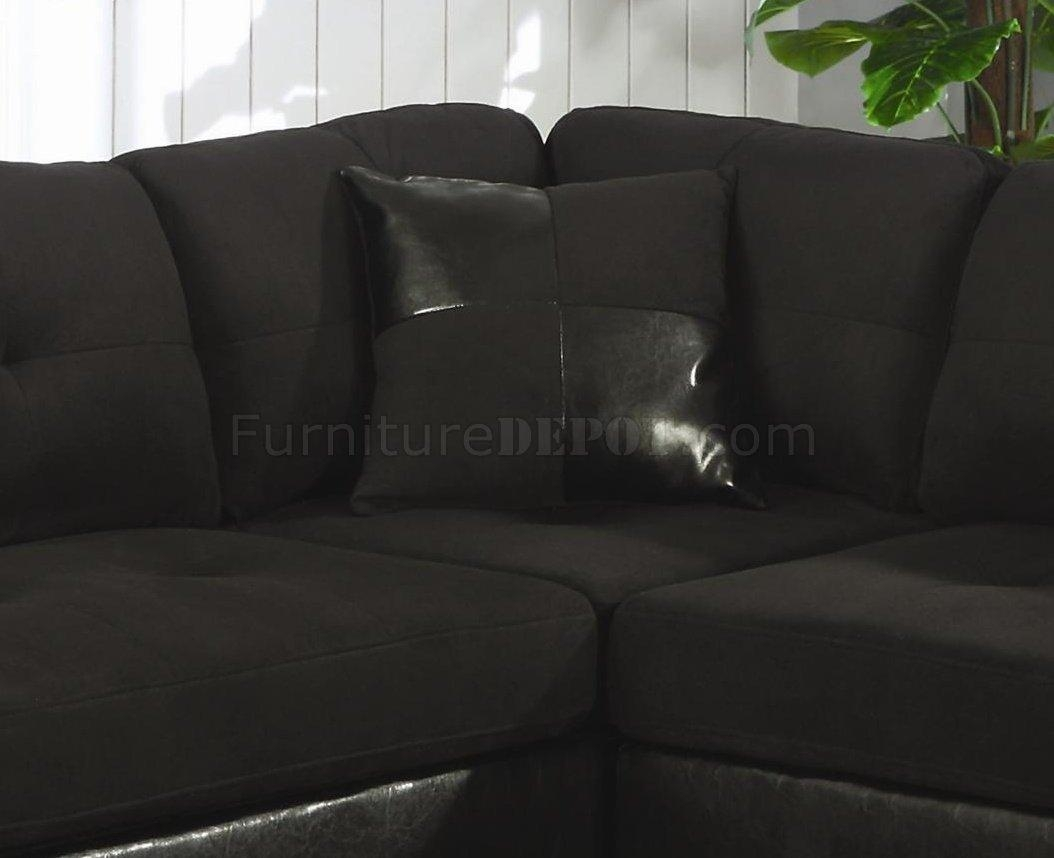 Microfiber & Faux Leather Contemporary Sectional Sofa 500735 Black Throughout Black Microfiber Sectional Sofas (Image 11 of 20)