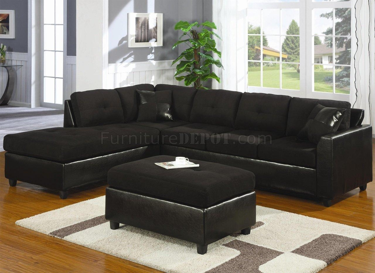 Microfiber & Faux Leather Contemporary Sectional Sofa 500735 Black With Faux Leather Sectional Sofas (Image 7 of 15)