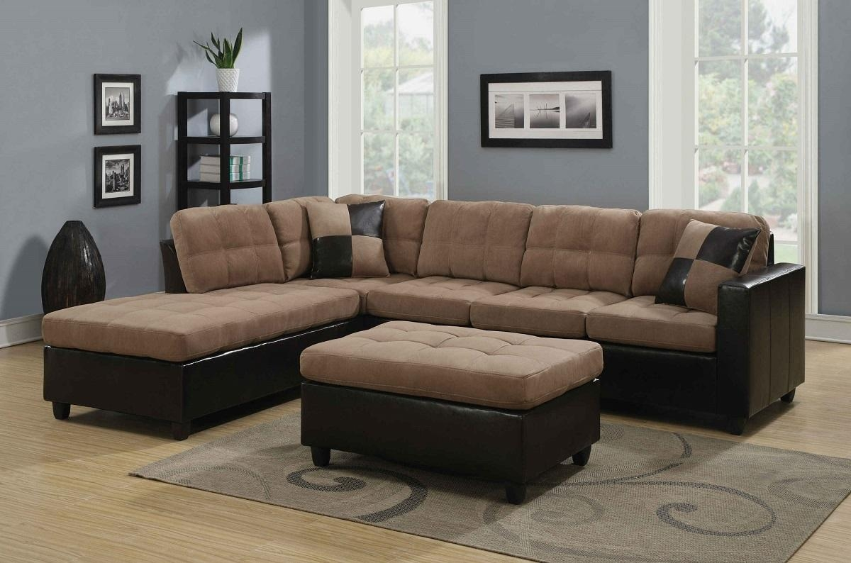 Microfiber Leather 2 Two Tone Small Sectional Sofa With Chaise Within Sectional Sofa San Diego (Image 6 of 20)
