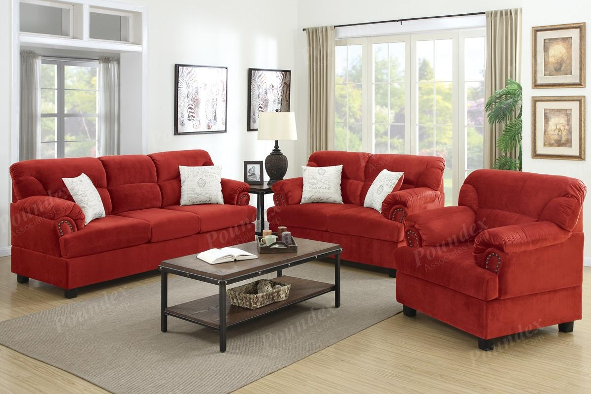 Microfiber Living Room Furniture 3 Pc Sofa Set Sofa Loveseat With Regard To Sofa Loveseat And Chairs (View 6 of 20)