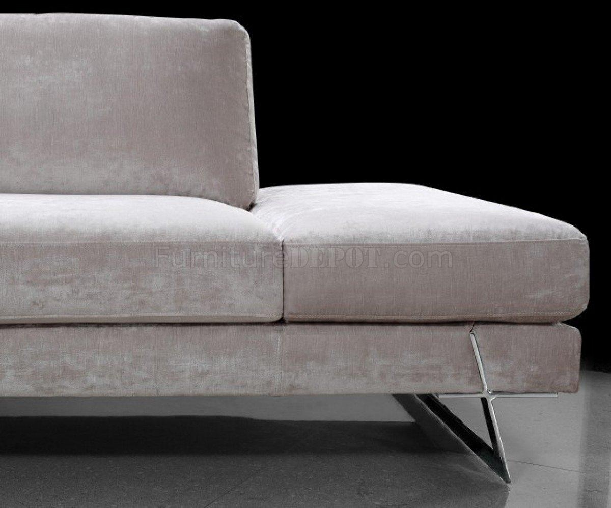 Microfiber Modern Sectional Sofa W/chrome Metal Legs With Regard To Sofas With Chrome Legs (Image 12 of 20)