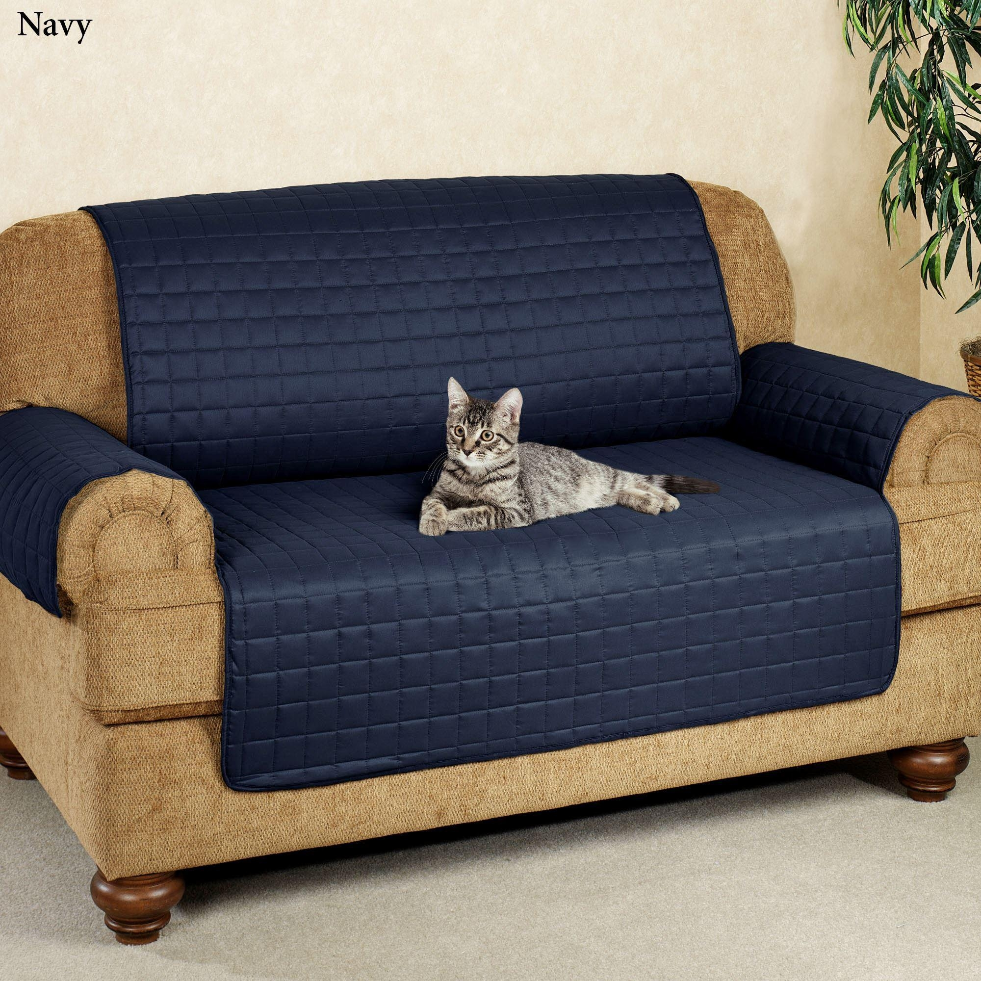 Microfiber Pet Furniture Covers With Tuck In Flaps Regarding Blue Slipcover Sofas (Image 12 of 20)