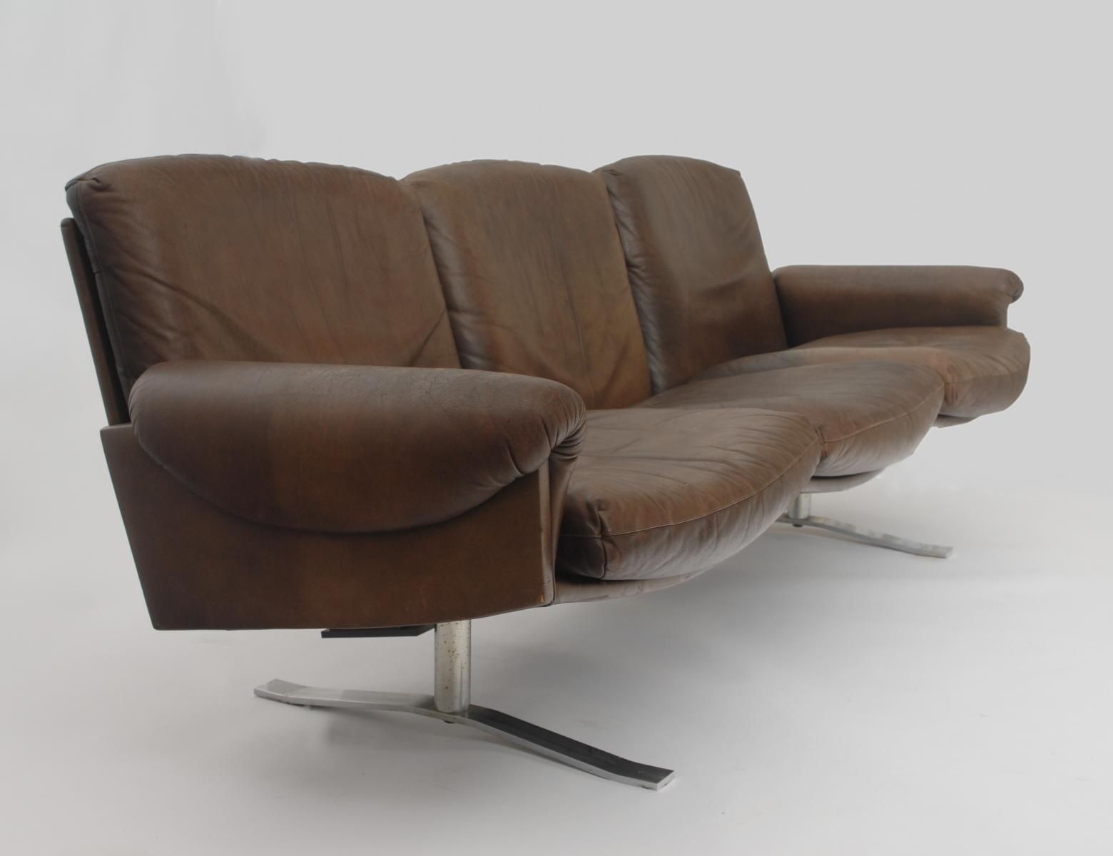 Mid Century German 3 Seater Leather Sofa For Sale At Pamono With 3 Seater Leather Sofas (Image 8 of 20)