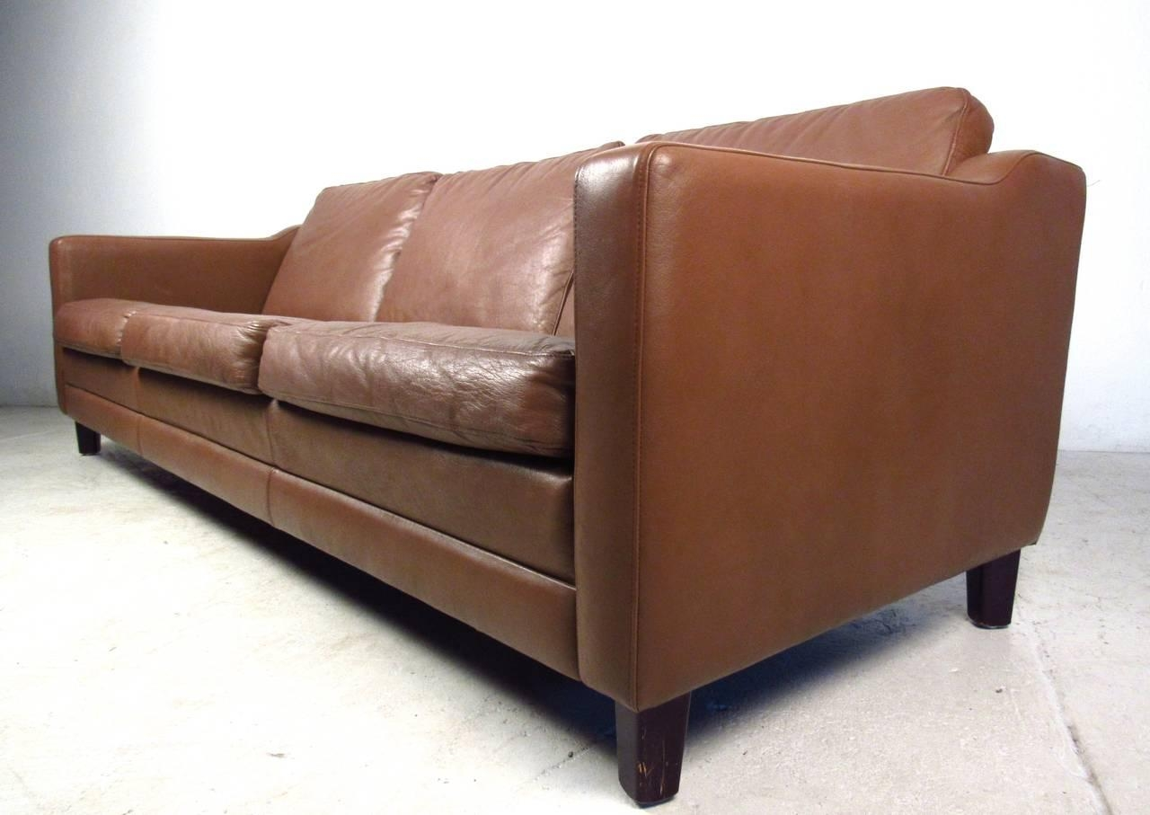 Mid Century Modern Danish Leather Sofa In The Style Of Børge Inside Mid Century Modern Leather Sectional (Image 10 of 20)