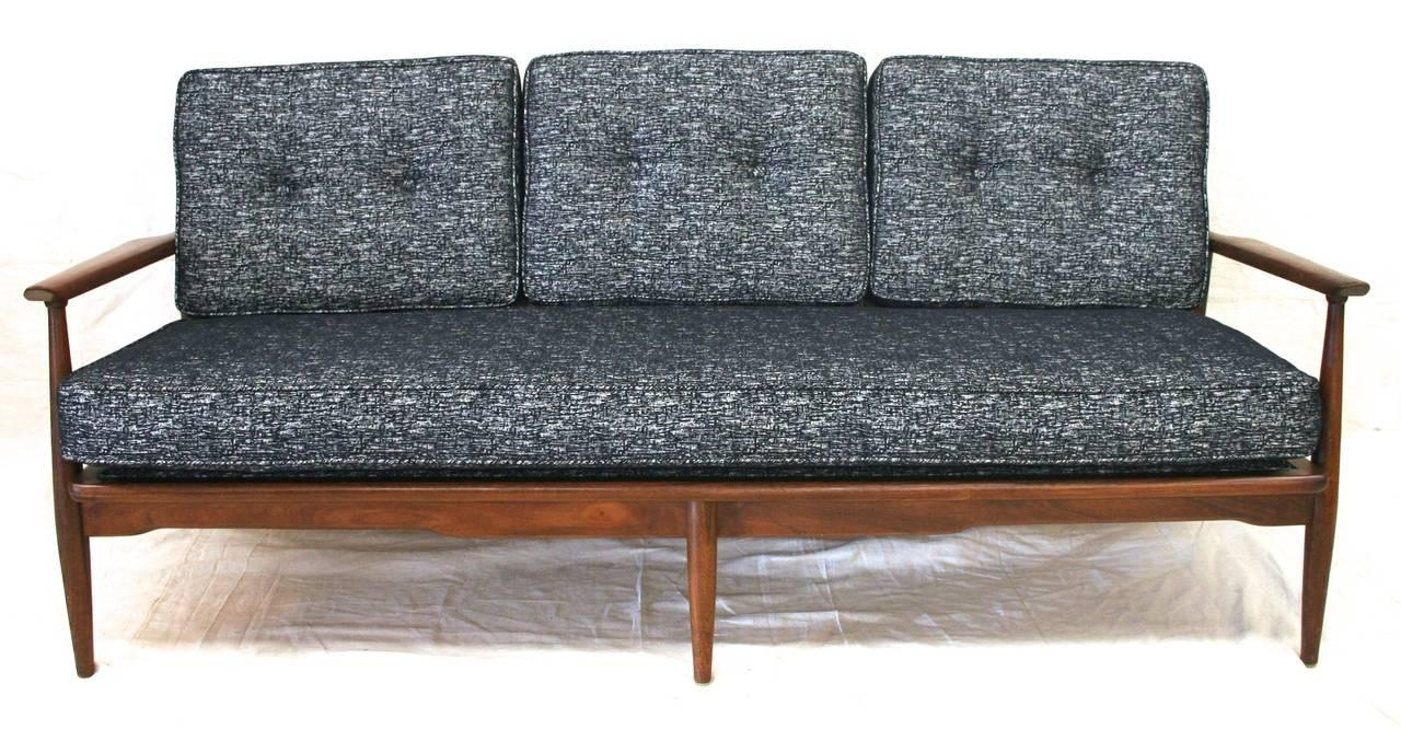 Mid Century Modern Danish Sofa With Walnut Frame And New Pertaining To Modern Danish Sofas (View 8 of 20)