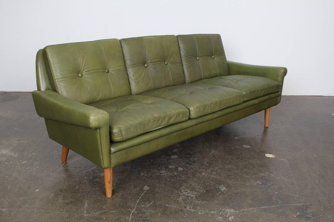 Mid Century Modern Green Leather Sofaskippers Mobler At 1Stdibs For Danish Leather Sofas (Image 17 of 20)