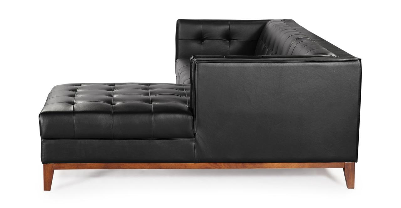 Mid Century Modern Harrison Chaise Sectional Leather Or Fabric Inside Mid Century Modern Leather Sectional (Image 7 of 20)
