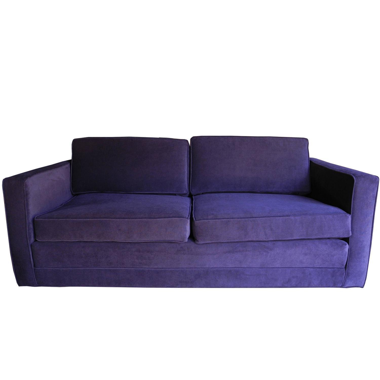 Mid Century Modern Purple Velvet Sofa / Setteecharles Pfister In Knoll Sofas (View 9 of 20)