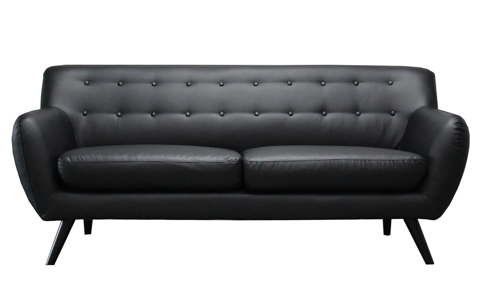 Mid Century Modern Tufted Bonded Leather Sofa – Walmart With Brown Leather Tufted Sofas (View 9 of 20)