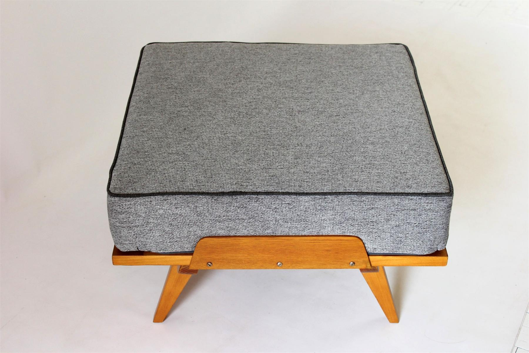 Mid Century Sofa Bed With Pouf, 1960S For Sale At Pamono Within Footstool Pouffe Sofa Folding Bed (View 9 of 20)