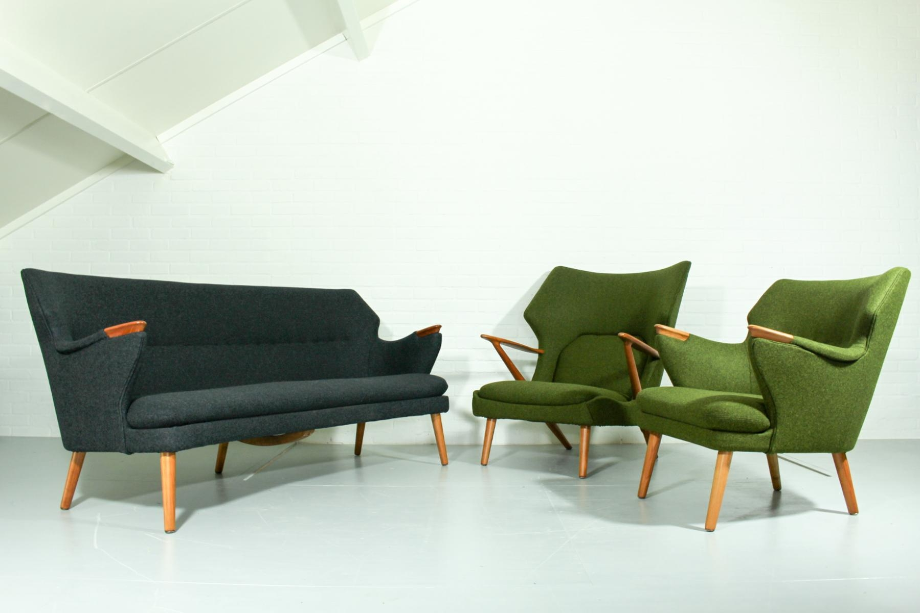 Mid Century Sofa, Chairs, And Table Lounge Set For Sale At Pamono Throughout Sofa Chairs (View 20 of 20)